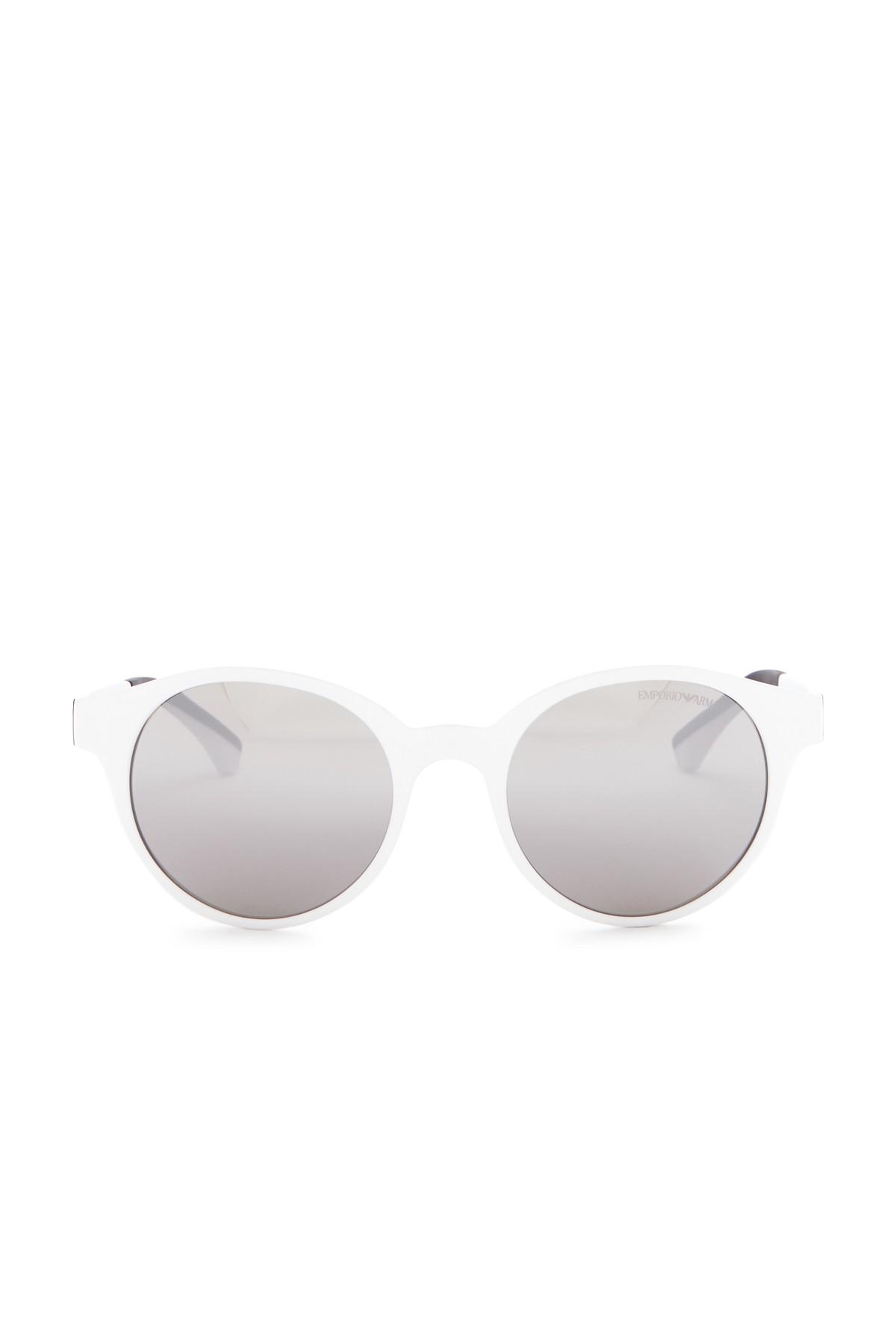 4800f51f1bb0 Lyst - Emporio Armani 51mm Round Acetate Frame Sunglasses in White ...
