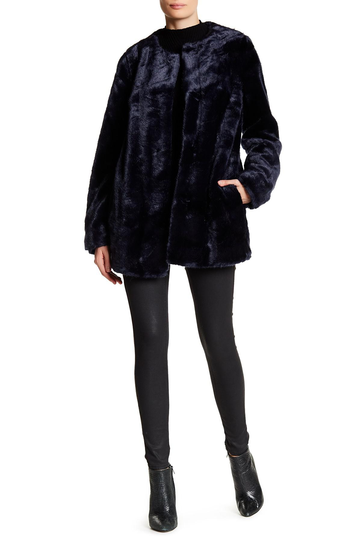 Vince Camuto Faux Fur Coat In Blue Lyst