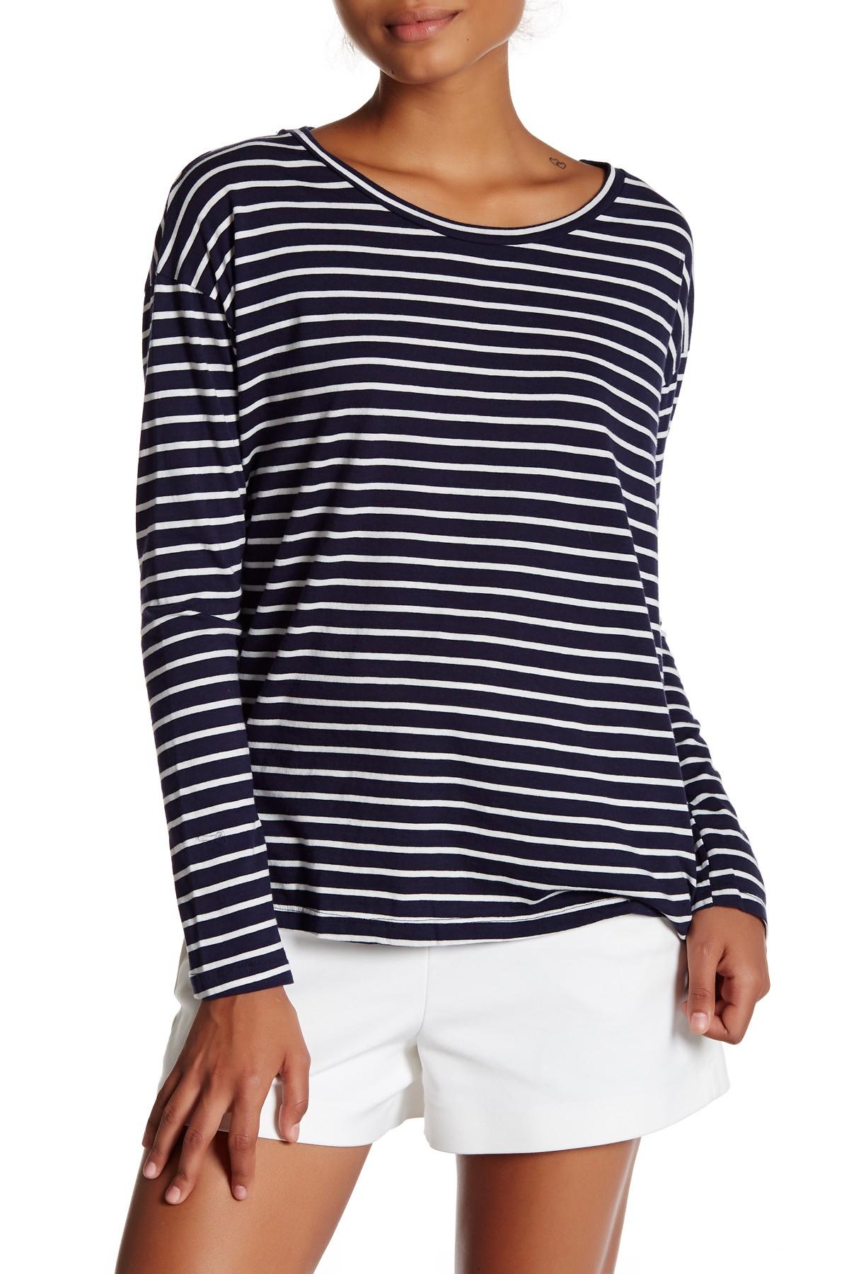 Michael stars long sleeve stripe shirt in blue navy for Navy blue striped long sleeve shirt