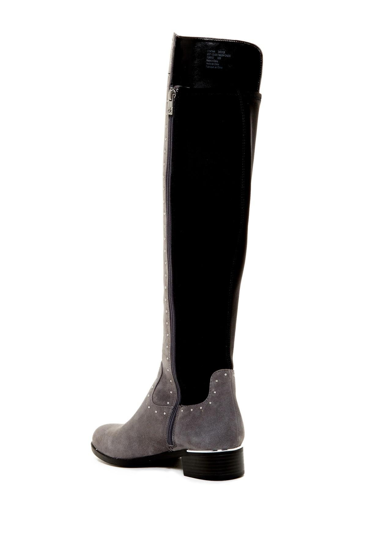 outlet store sale pretty cheap factory outlet Calvin Klein Leather Cynthia Studded Riding Boot - Wide Calf in ...