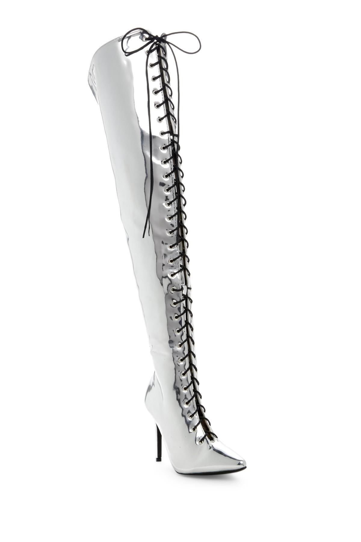 6272b6b6f89 Lyst - Cape Robbin Mini Embroidered Over-the-knee Boot in Metallic
