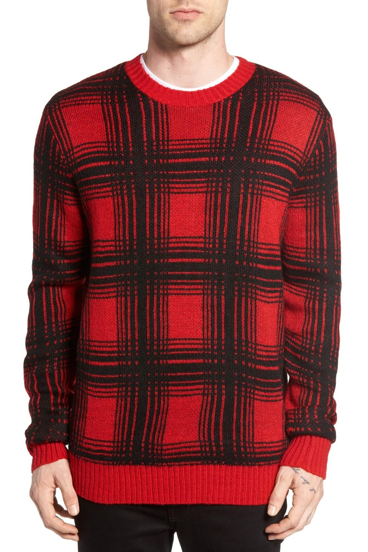 Obey Backside Plaid Sweater in Red for Men | Lyst