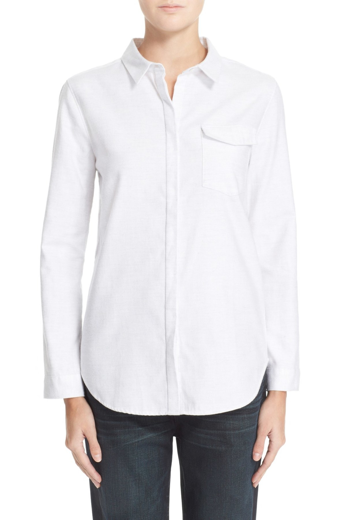 Ayr Brushed Twill Shirt In White Lyst