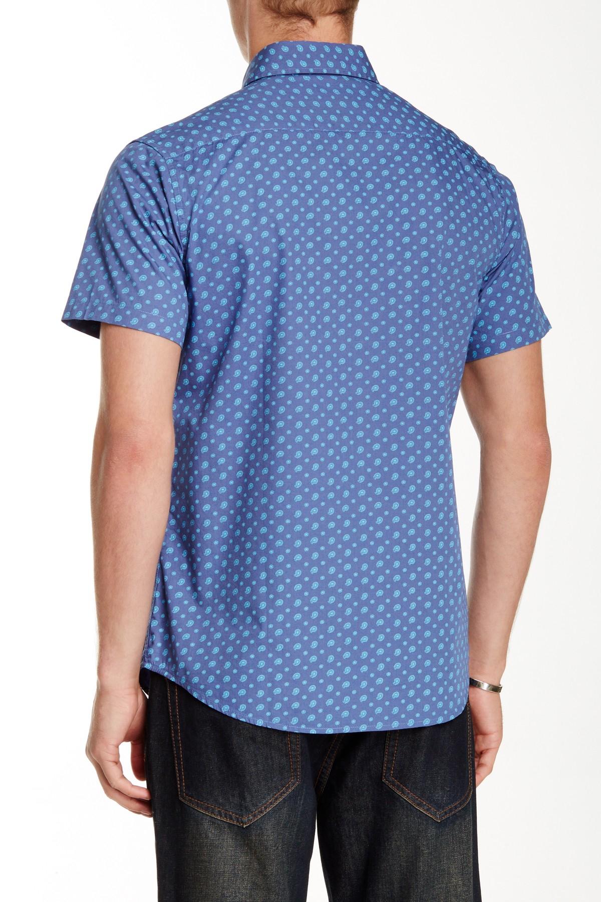 Slate And Stone Clothing : Slate stone slim fit paisley print short sleeve sport