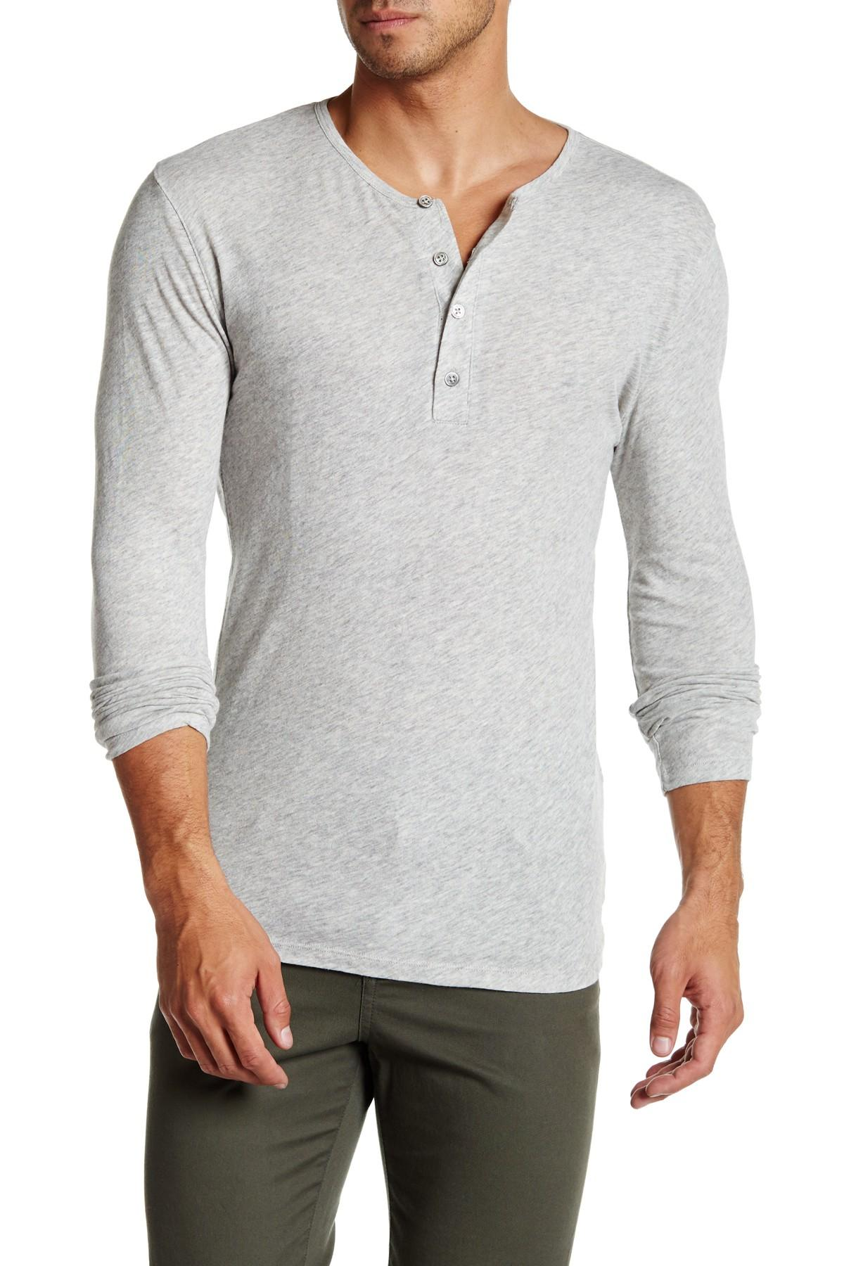 Slate And Stone Clothing : Slate stone long sleeve henley tee in gray for men lyst