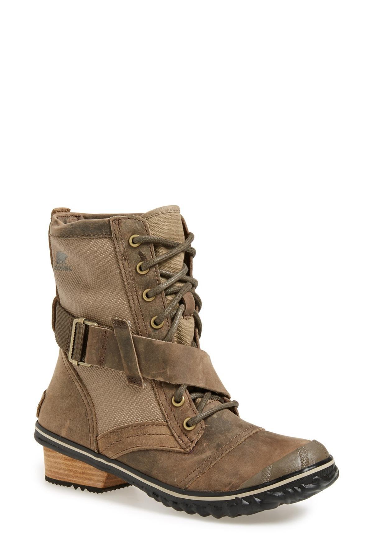 Sorel Slimboot Waterproof Lace Up Boot Women In Brown Lyst