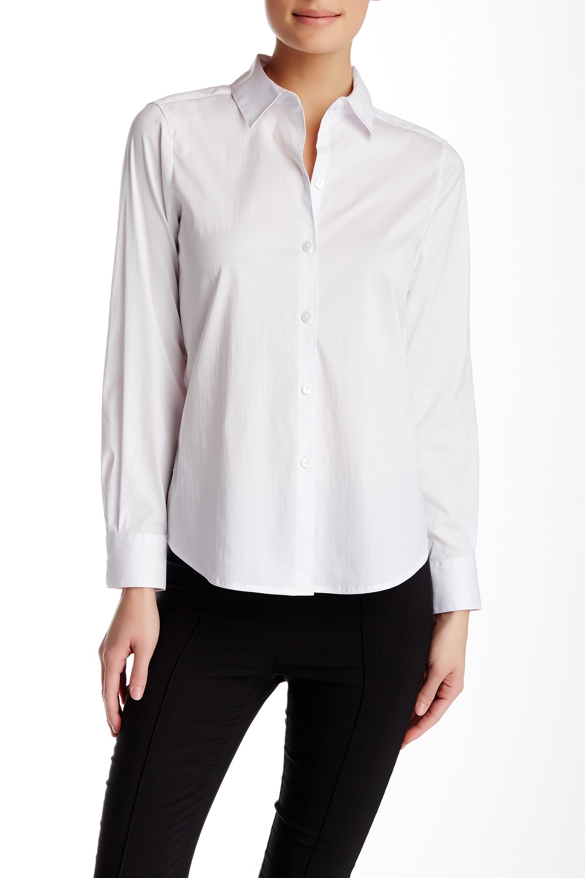 Foxcroft Solid Long Sleeve Shaped Fit Shirt In White Lyst