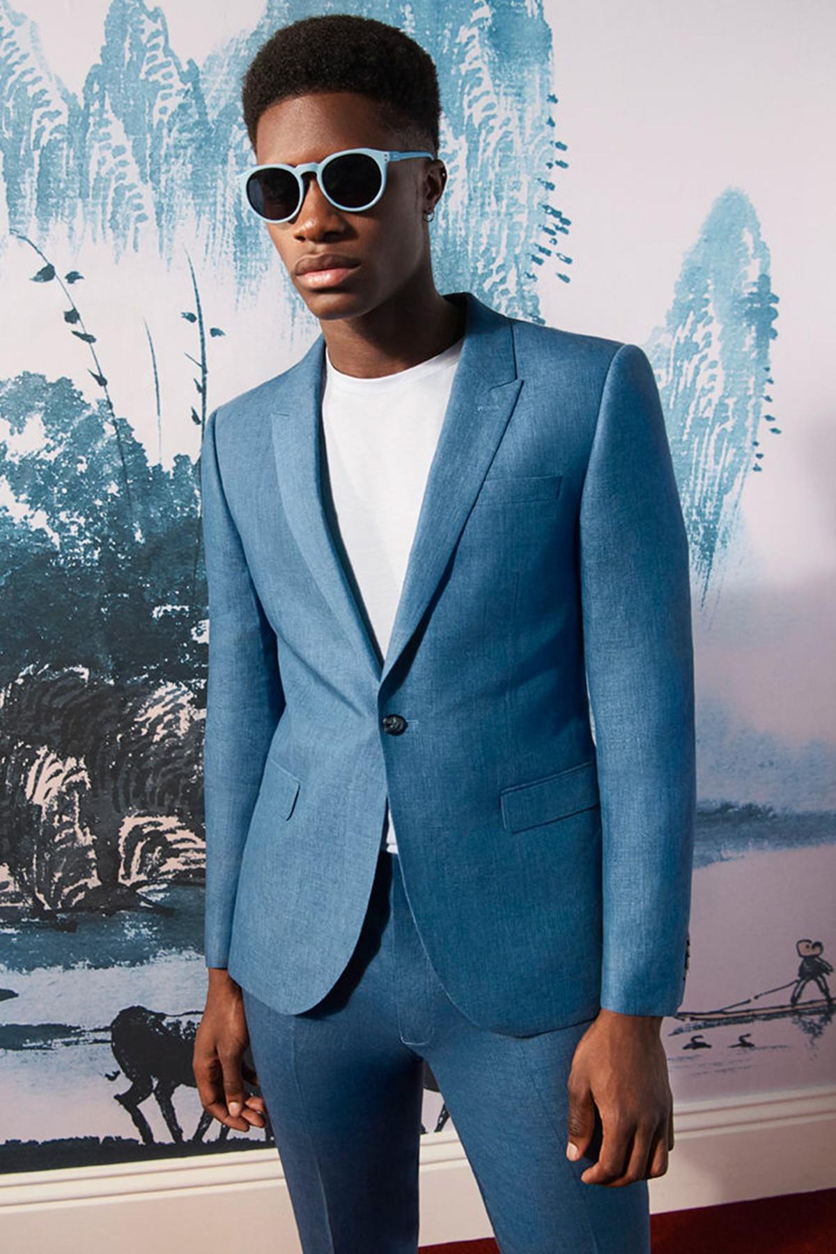Lyst - Topman Skinny Fit Crosshatch Suit Jacket in Blue for Men