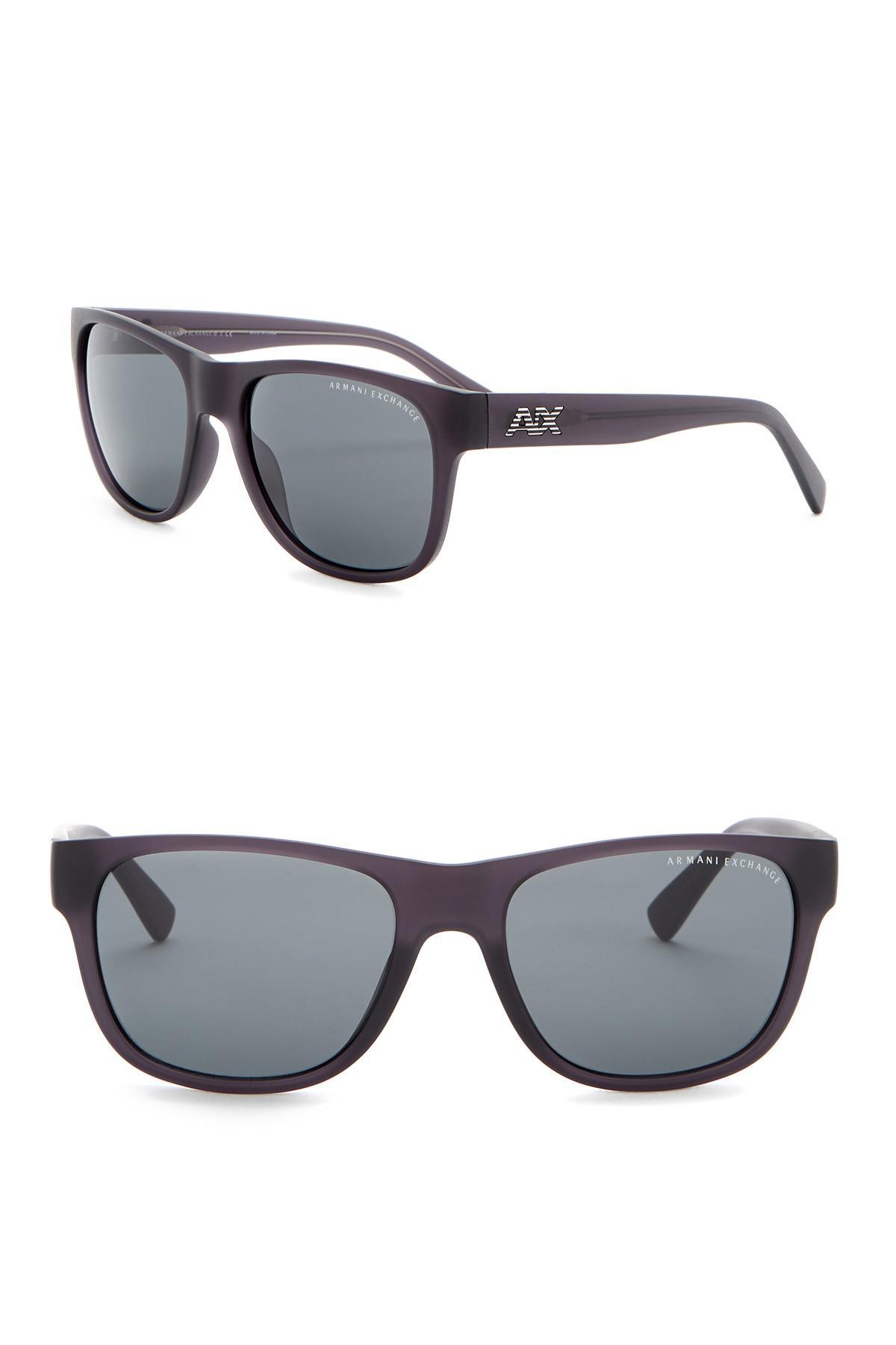e37cd7c044be Lyst - Armani Exchange 56mm Wayfarer Sunglasses in Gray for Men