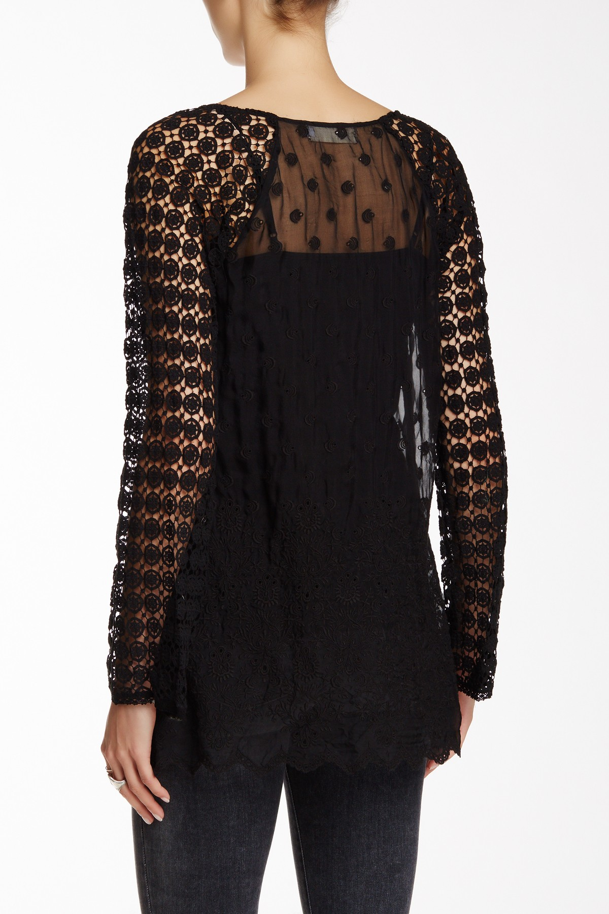 Johnny Was Lace Silk Blouse In Black Lyst