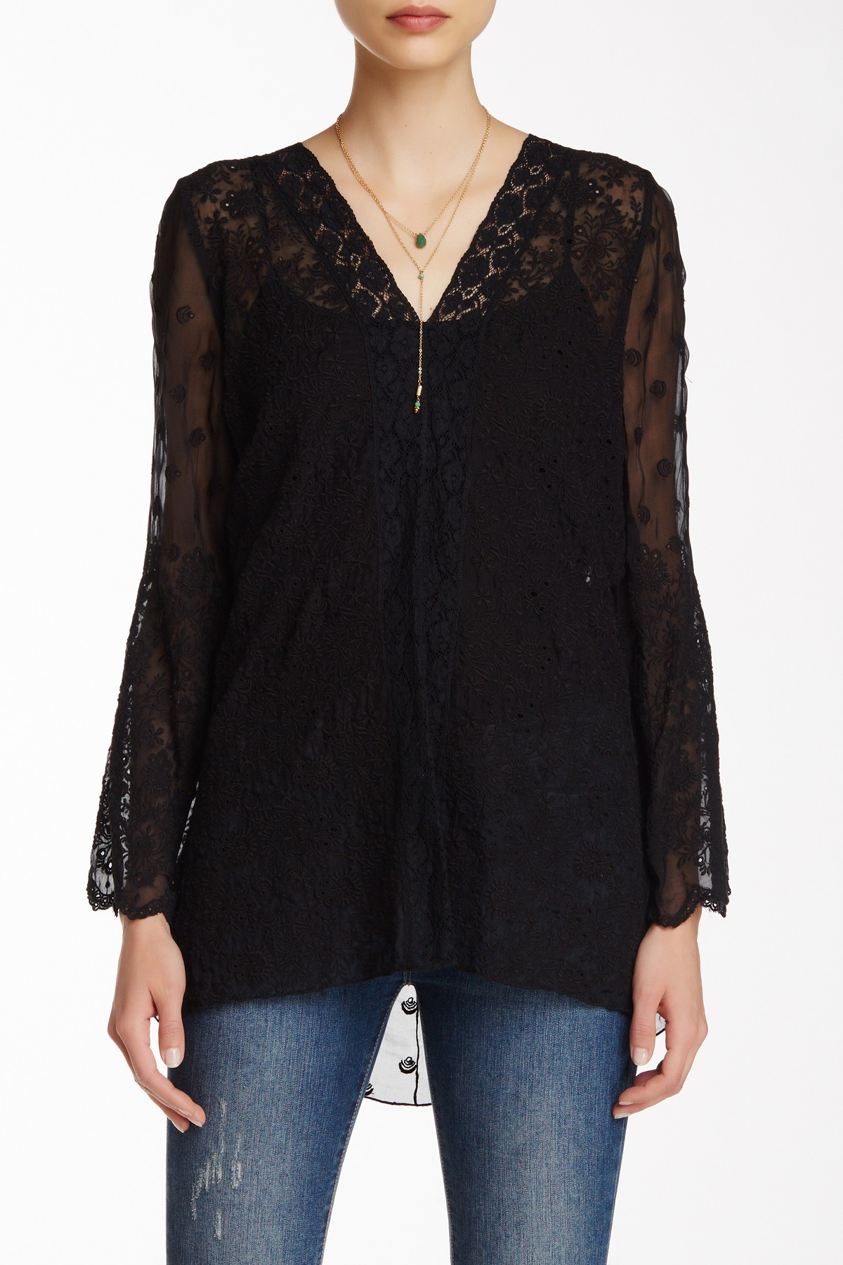 Johnny was sheer embroidered silk blouse in black lyst for Johnny was silk shirt