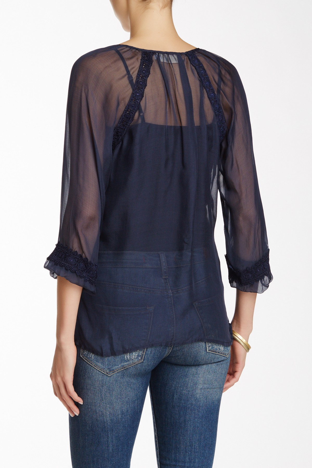 Johnny Was Sheer Lace Trim Silk Blouse In Blue Cadet Lyst
