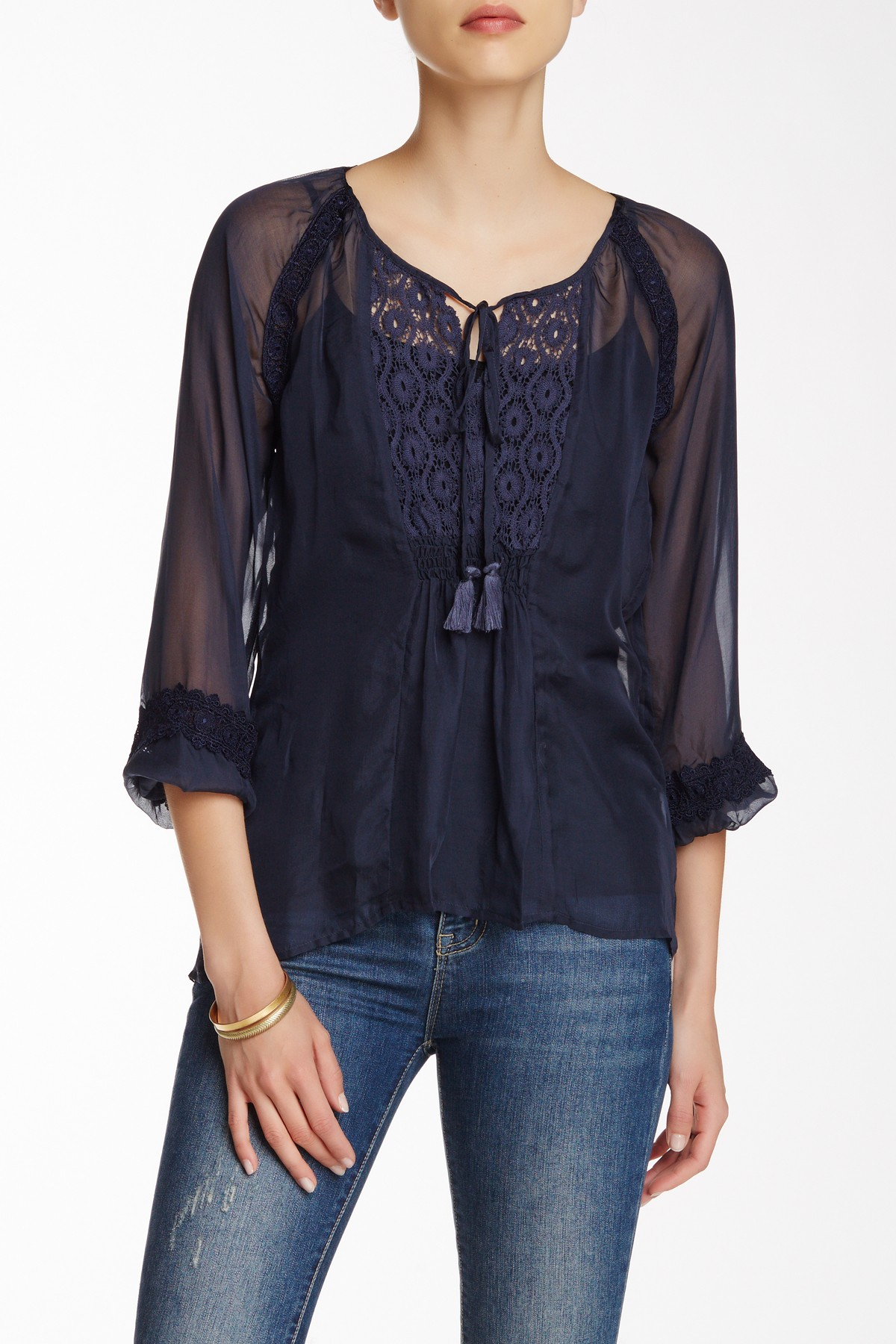 Johnny was sheer lace trim silk blouse in blue lyst for Johnny was silk shirt