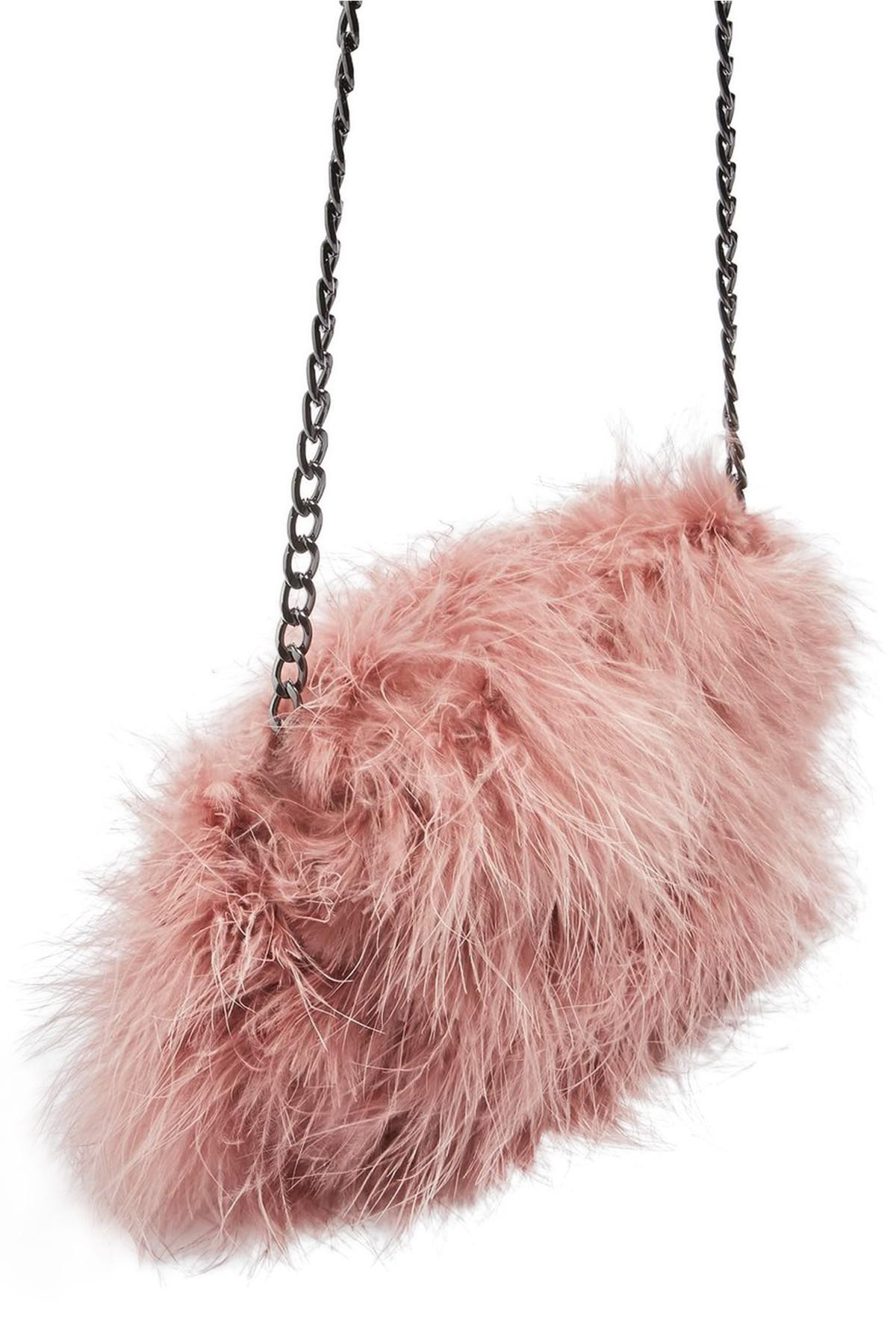 Lyst - TOPSHOP Riga Feather Crossbody Bag in Pink 4c5df69799b92