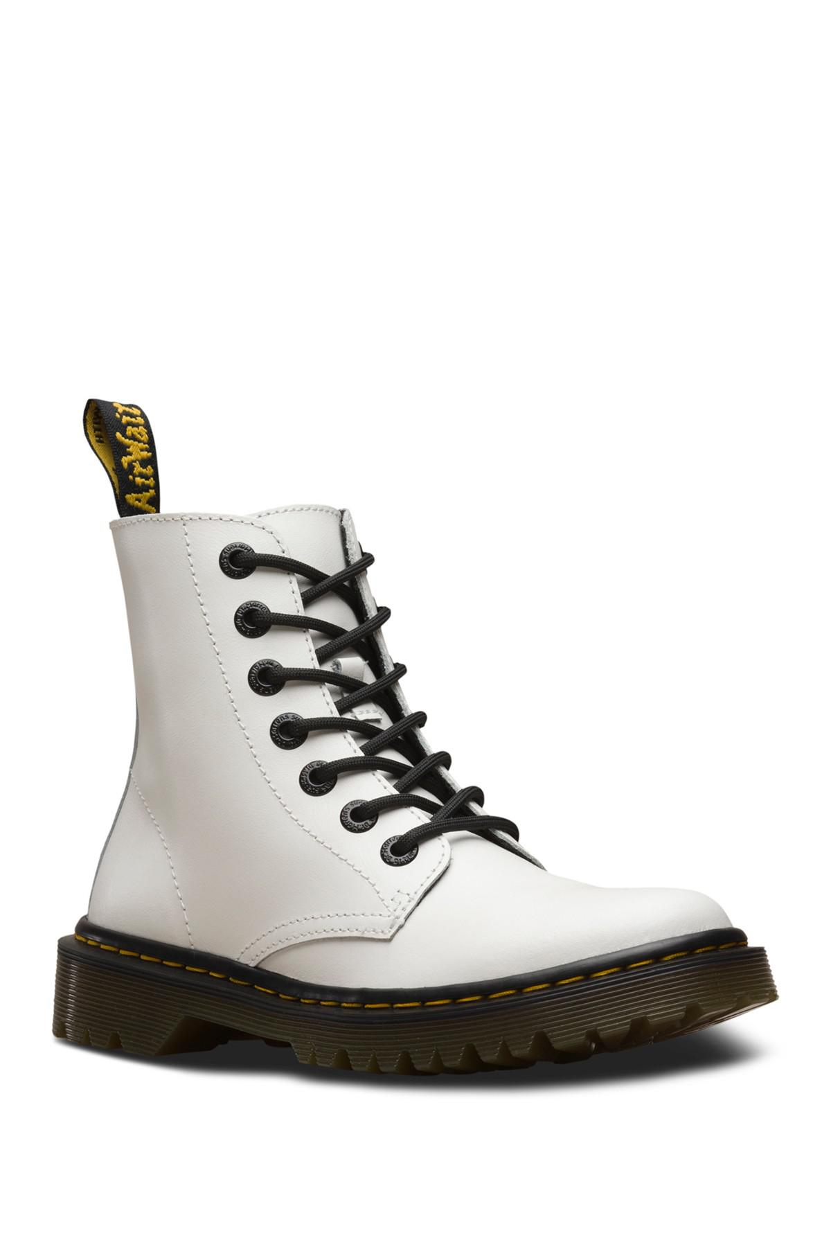 01083e14294 Lyst - Dr. Martens Luana Leather Lace-up Boot in White