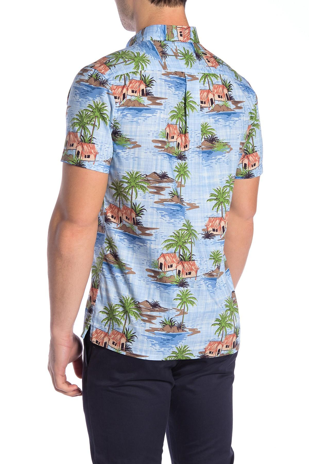 0bcb82d62 Wallin & Bros. - Blue Hawaiian Short Sleeve Performance Fit Shirt for Men -  Lyst. View fullscreen