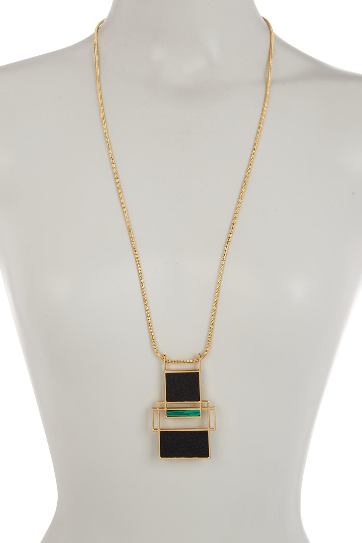 Trina Turk Long Necklace w/ Green Malachite mECUGB