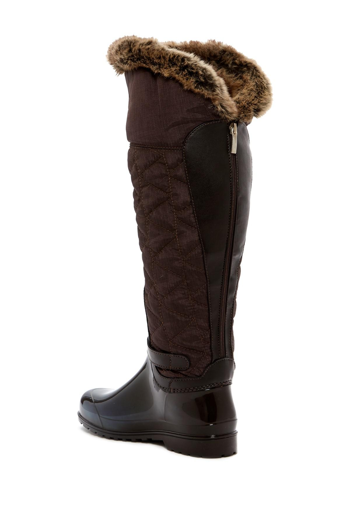 Santana Canada Clarissa 2 Nylon & Faux Fur Trimmed Waterproof Rain Boot w8SIzaDIS