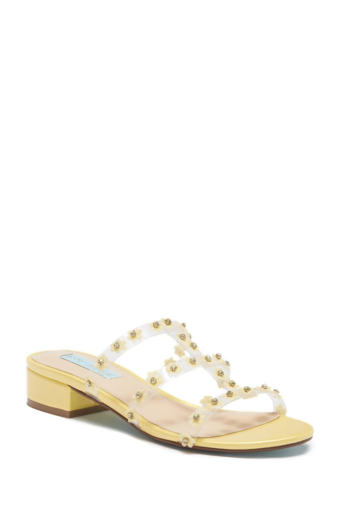 142229a5c41 Betsey Johnson Arlyn Floral Embellished Sandal in Yellow - Lyst