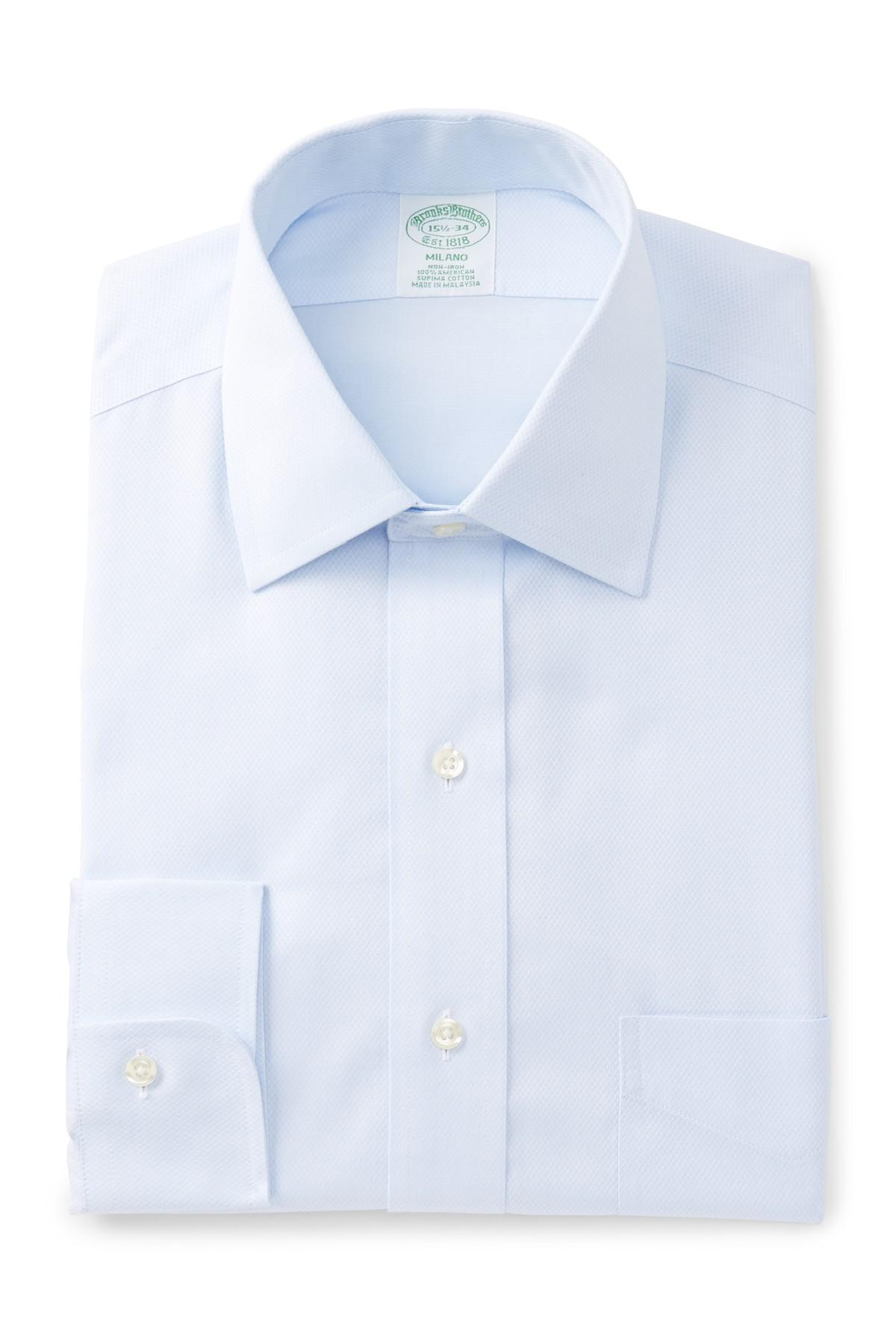 Lyst brooks brothers milano extra slim fit dress shirt for Extra slim dress shirt