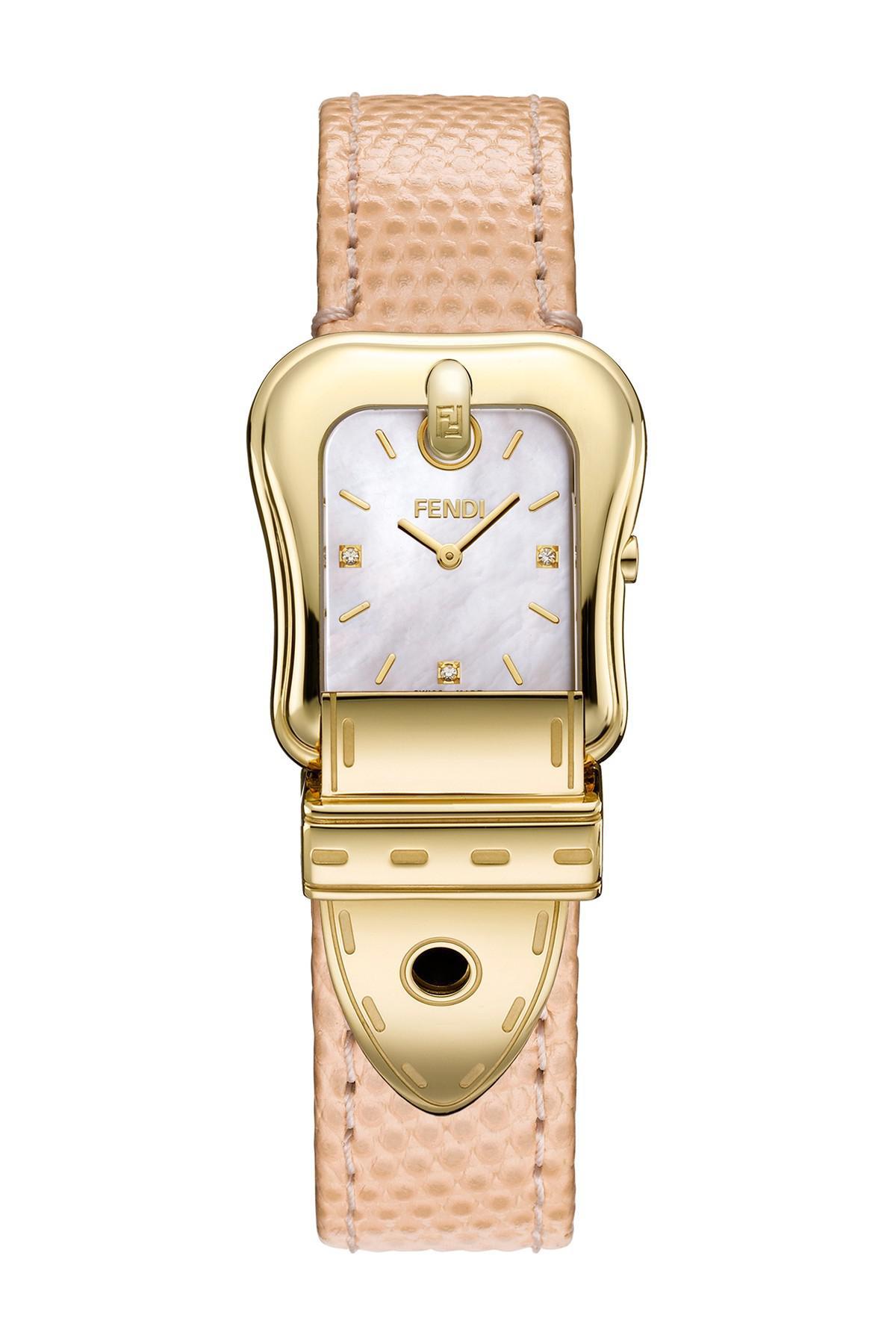 5a2f0f509a0 Lyst - Fendi Women s B. Diamond Accented Leather Strap Watch - 0.01 ...