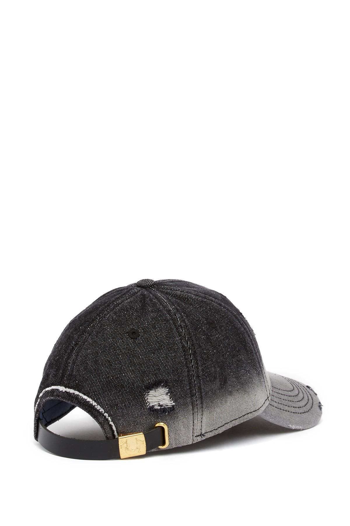 8bc90f29 True Religion Bleached Denim Baseball Cap in Black for Men - Lyst