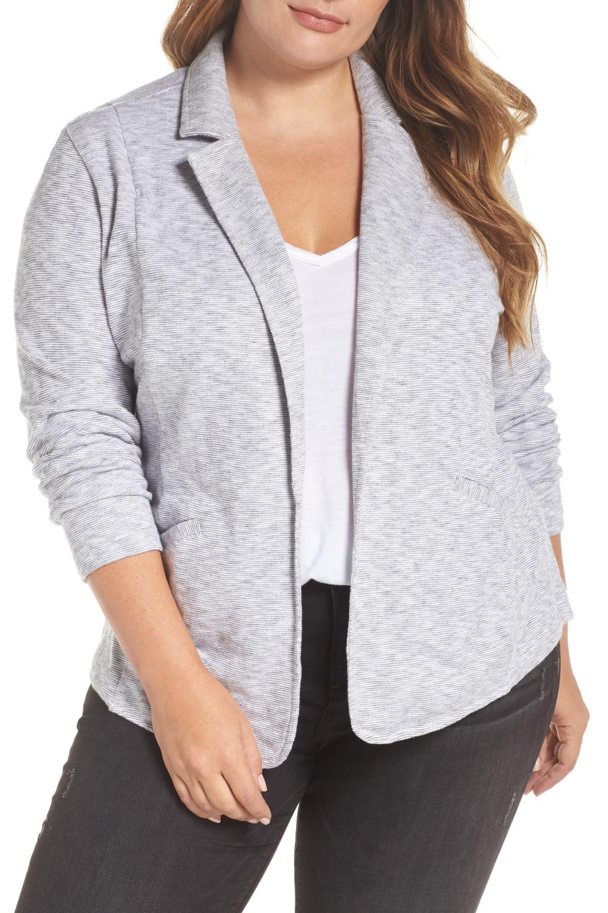 1690f5cc99b2d Lyst - Caslon (r) Knit Blazer (plus Size) in White