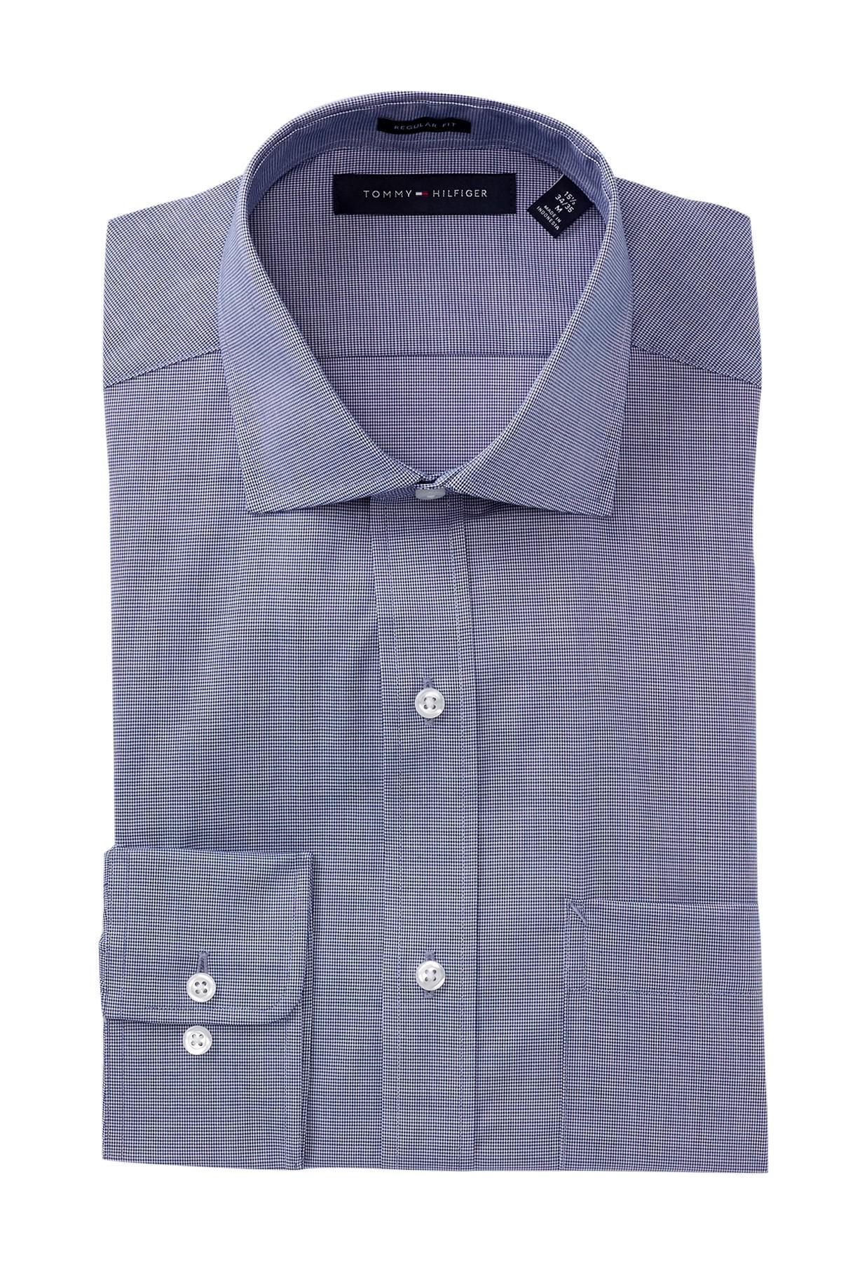 Lyst tommy hilfiger regular fit poplin dress shirt in for Regular fit dress shirt