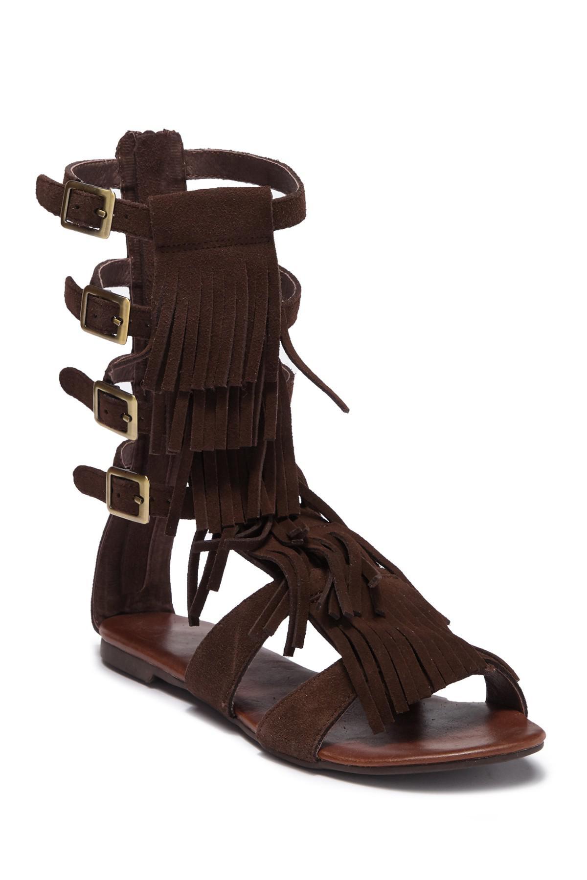 8c7ecd8b4c23 Lyst - Jeffrey Campbell Top Fringe Sandal in Brown