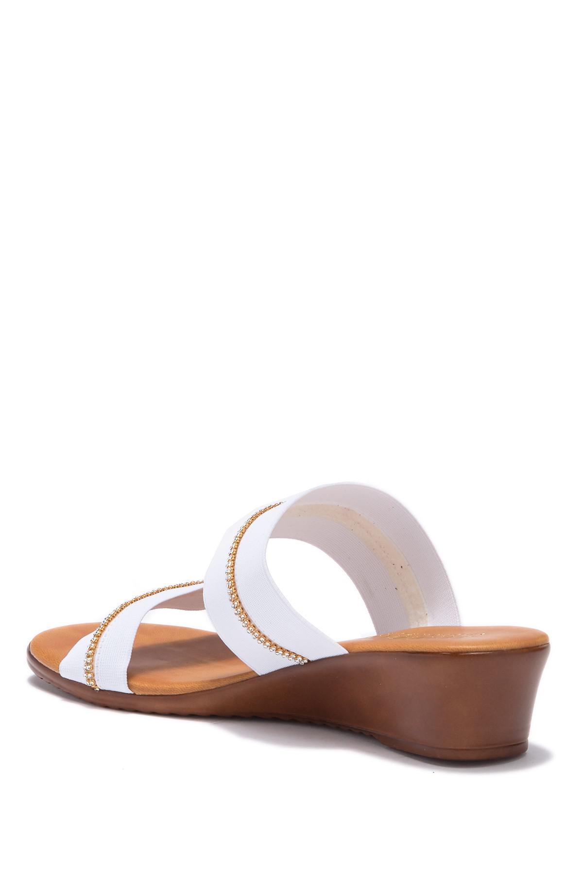 534eed6bbc Italian Shoemakers - White Jewel Embellished Wedge Sandal - Lyst. View  fullscreen