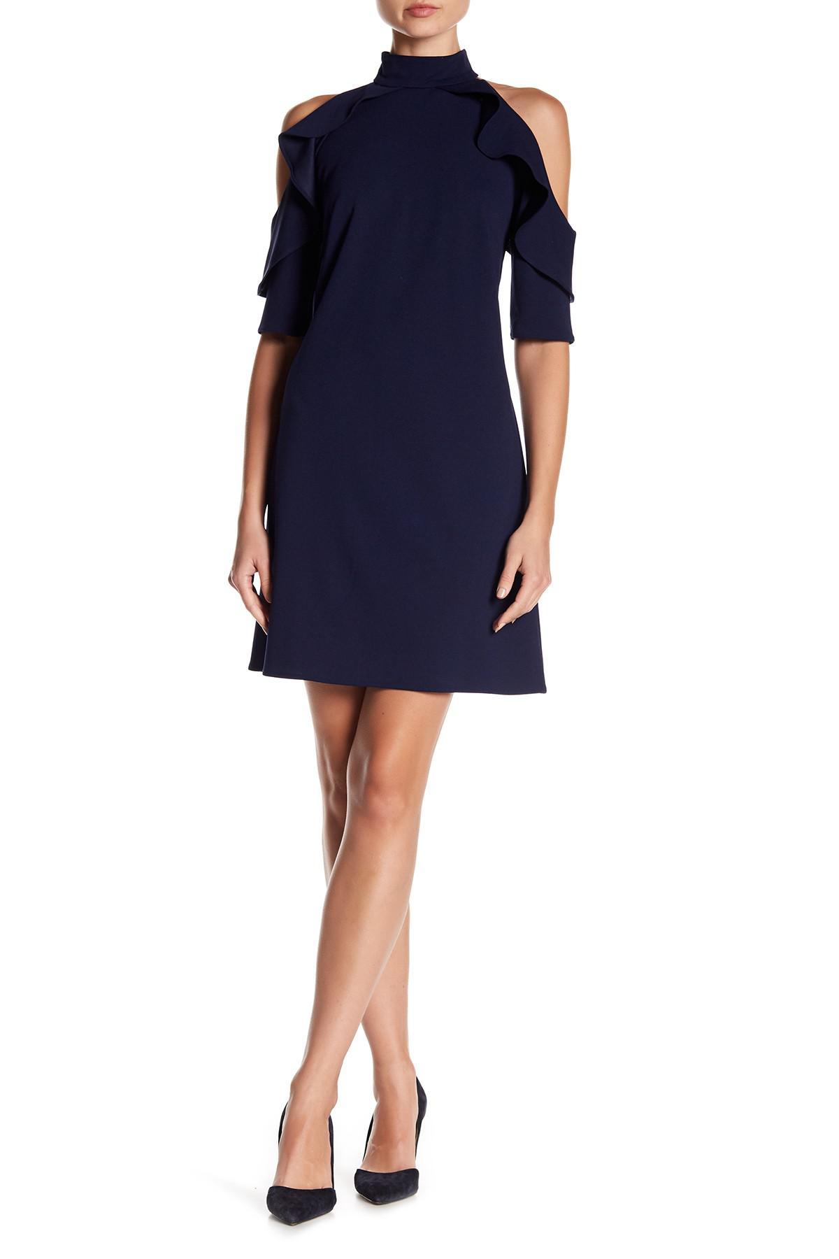 Nicole Miller Cold Shoulder Ruffle Halter Dress In Blue Lyst