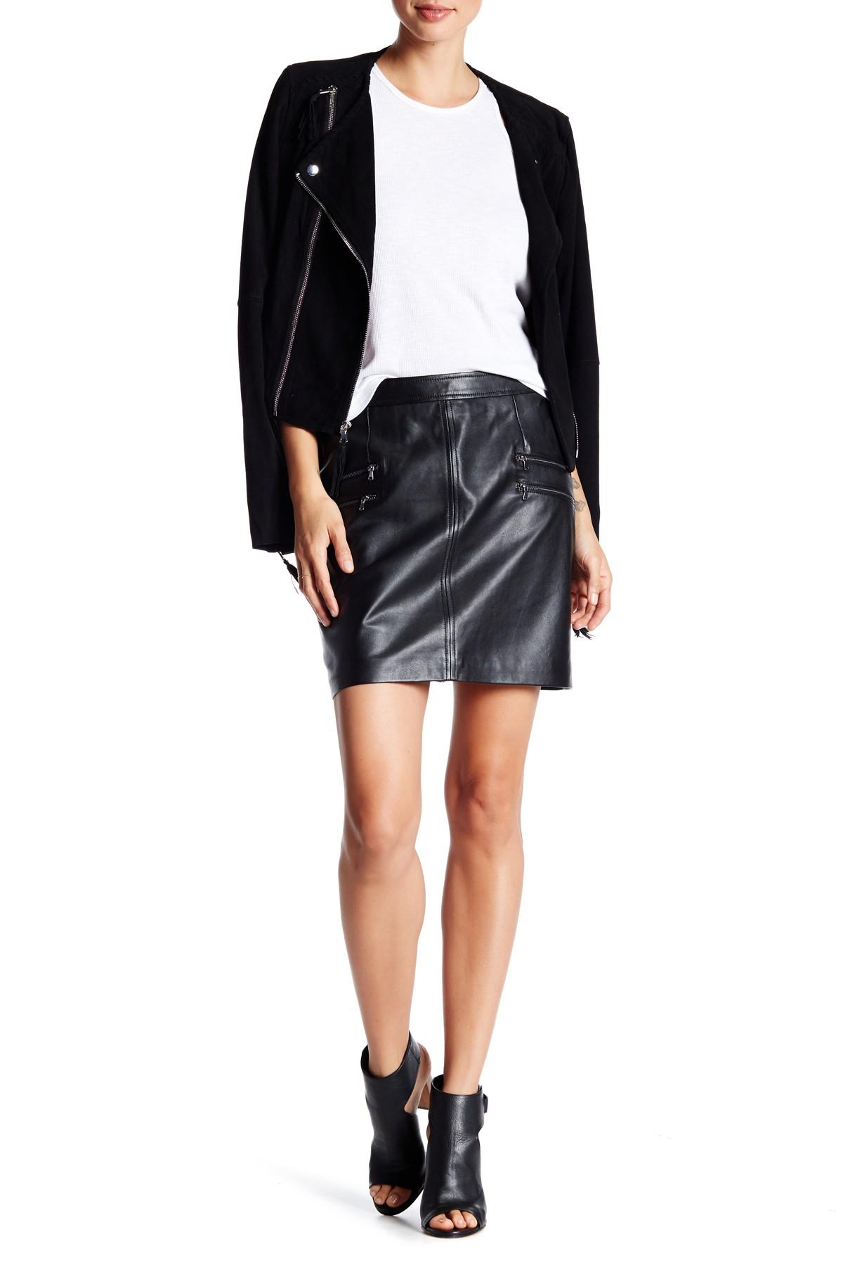 rayleigh genuine leather skirt in black lyst
