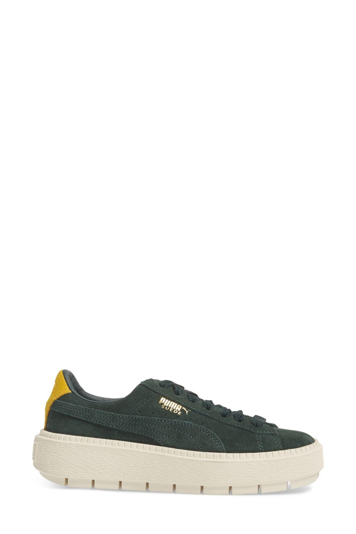 Lyst - PUMA Platform Trace Bold Leather Sneaker in Green 97fb0a710