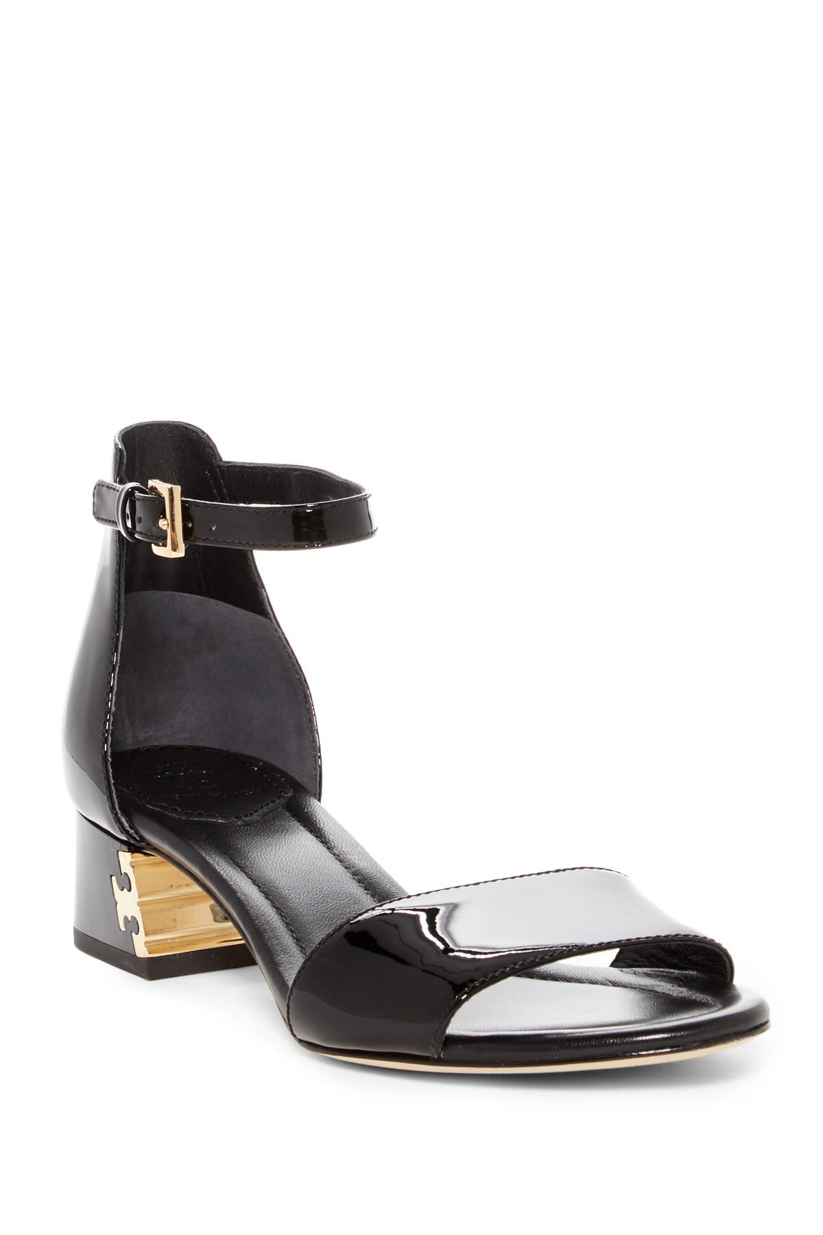 5d9de4438d57 Lyst - Tory Burch Finley Patent Leather Sandal in Black