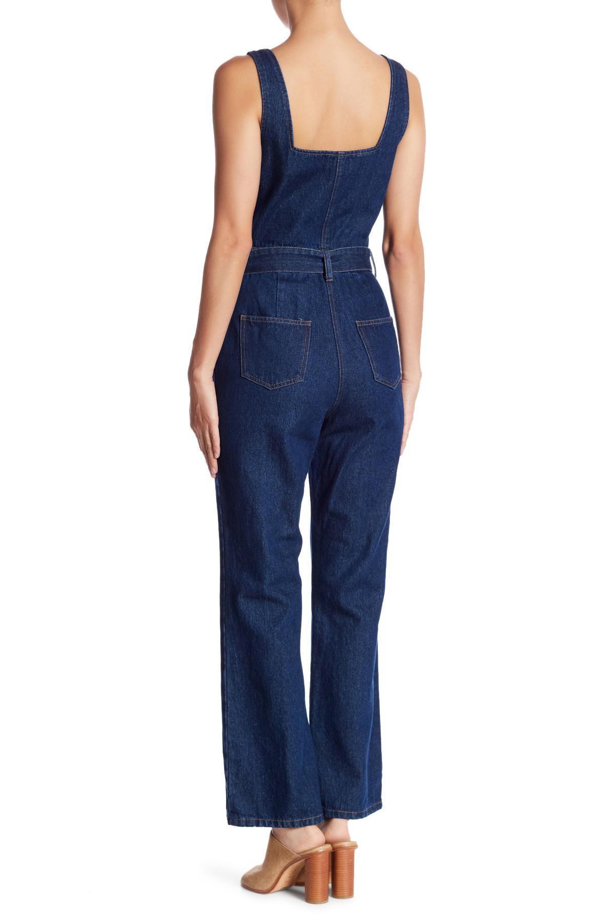 a28f4bff70a3 Honey Punch - Blue Belted Denim Jumpsuit - Lyst. View fullscreen