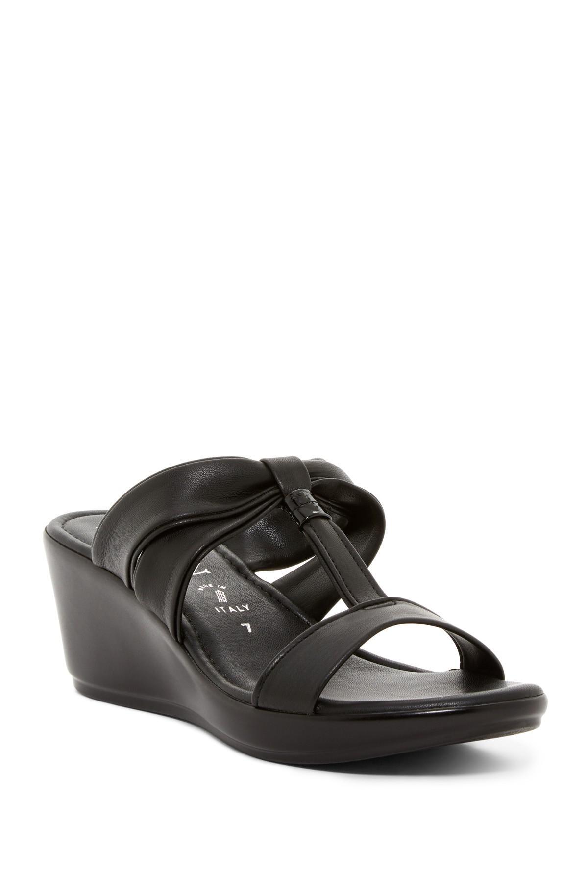 Italian Shoemakers Wedge Sandal In Black Lyst