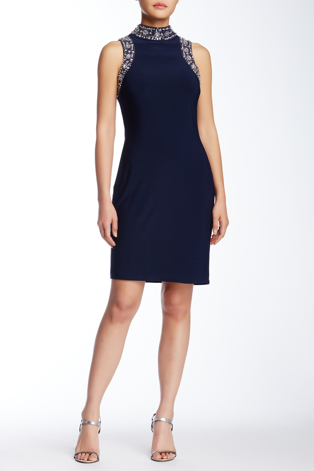 Lyst marina sleeveless beaded jersey sheath dress in blue for Nordstrom rack dresses pour mariage