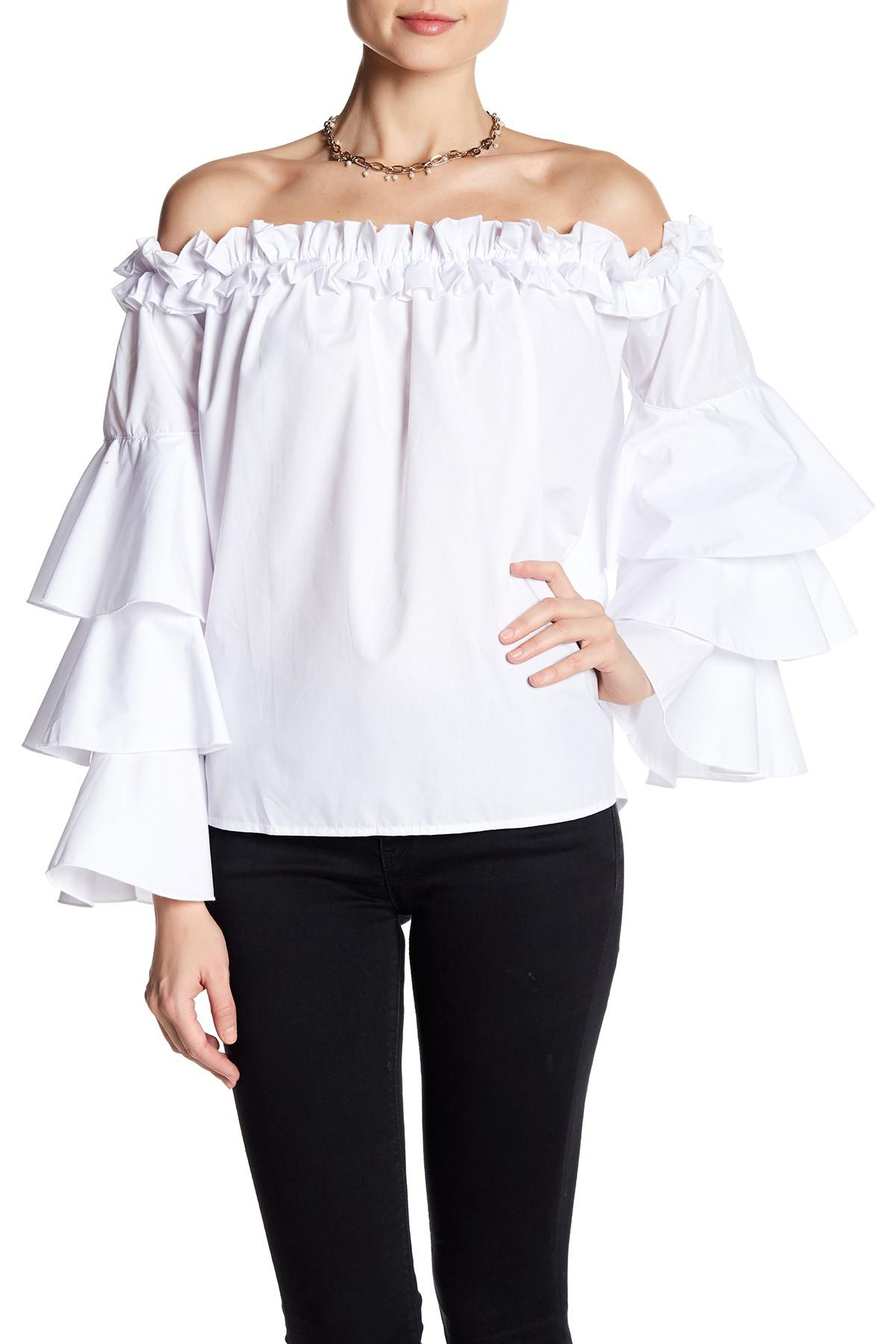 ff4205a6147 Lyst - Haute Rogue Ruffle Off-the-shoulder Blouse in White