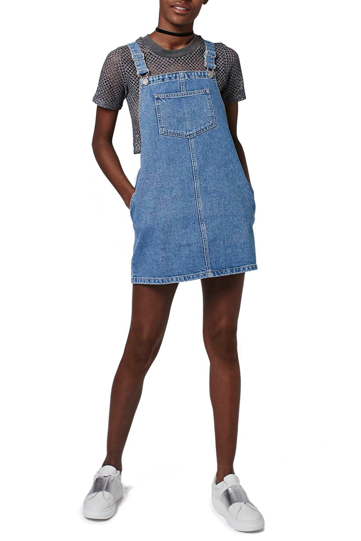Topshop denim pinafore dress petite lyst for Womens denim shirts topshop