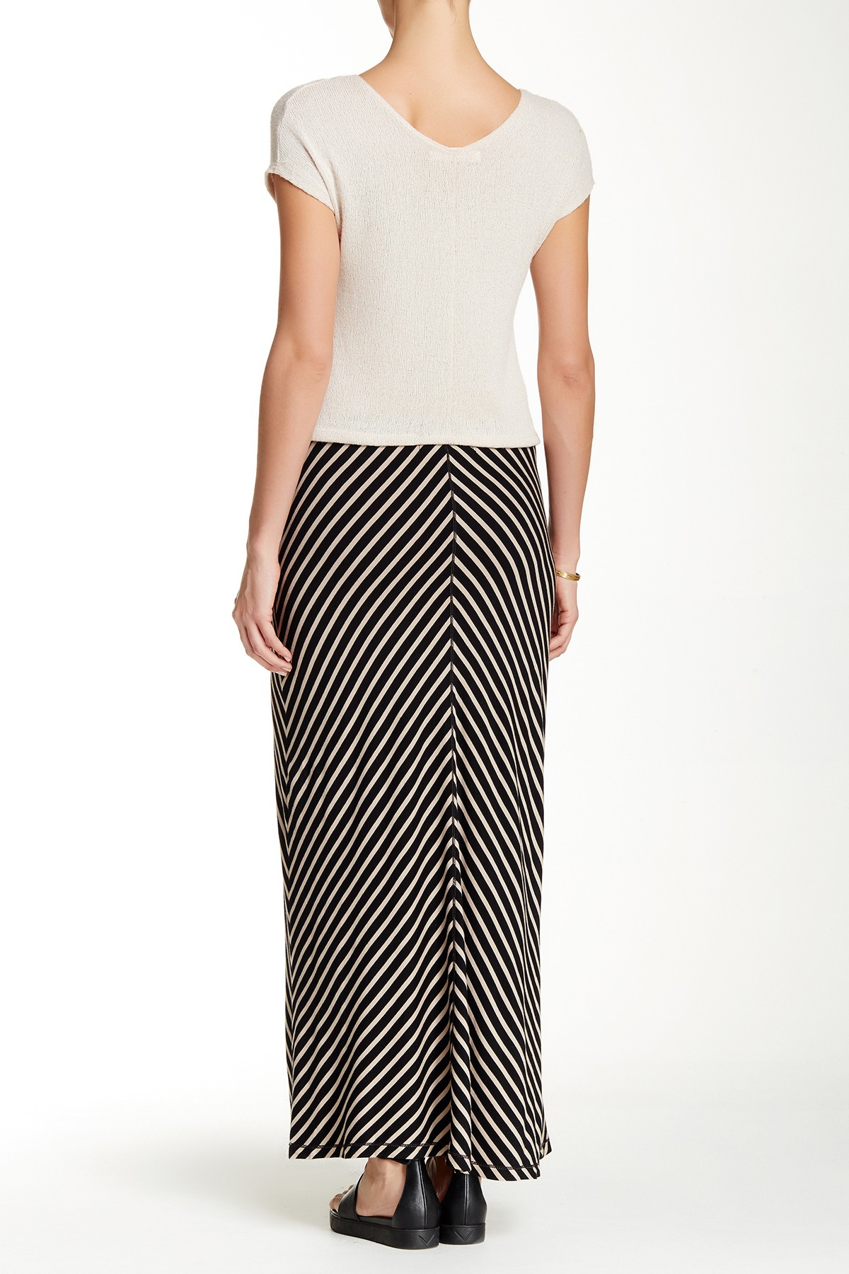 max studio striped jersey maxi skirt in black lyst