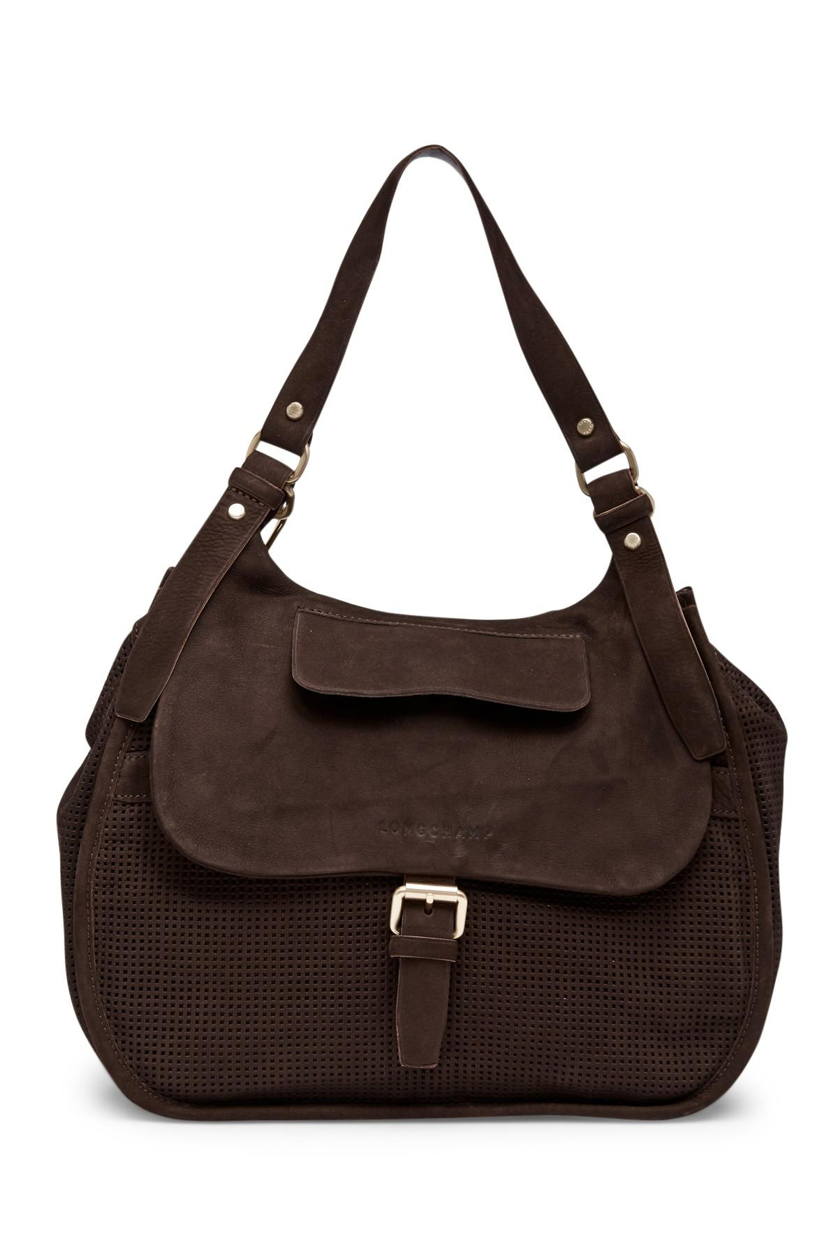 a7acce7b472 Lyst - Longchamp Balzane Perforated Suede Shoulder Bag in Brown