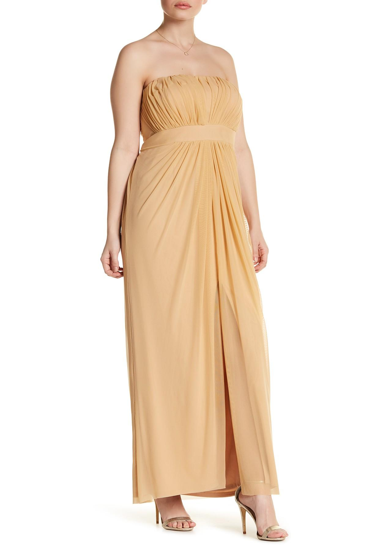 Marina Strapless Ruched Gown Plus Size In Metallic Lyst