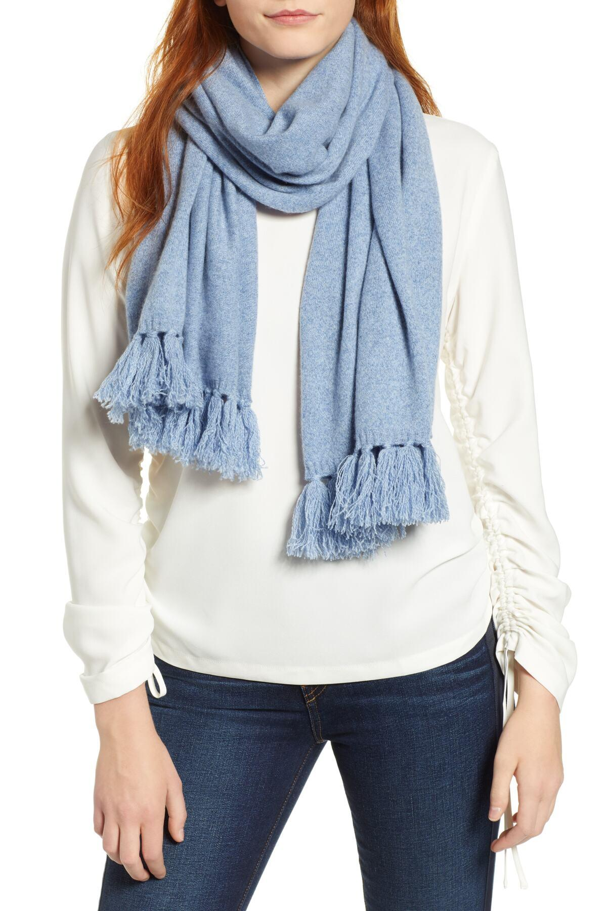 Brand New In Package Navy Combo Colorblock Knit Cashmere Scarf By HALOGEN $99