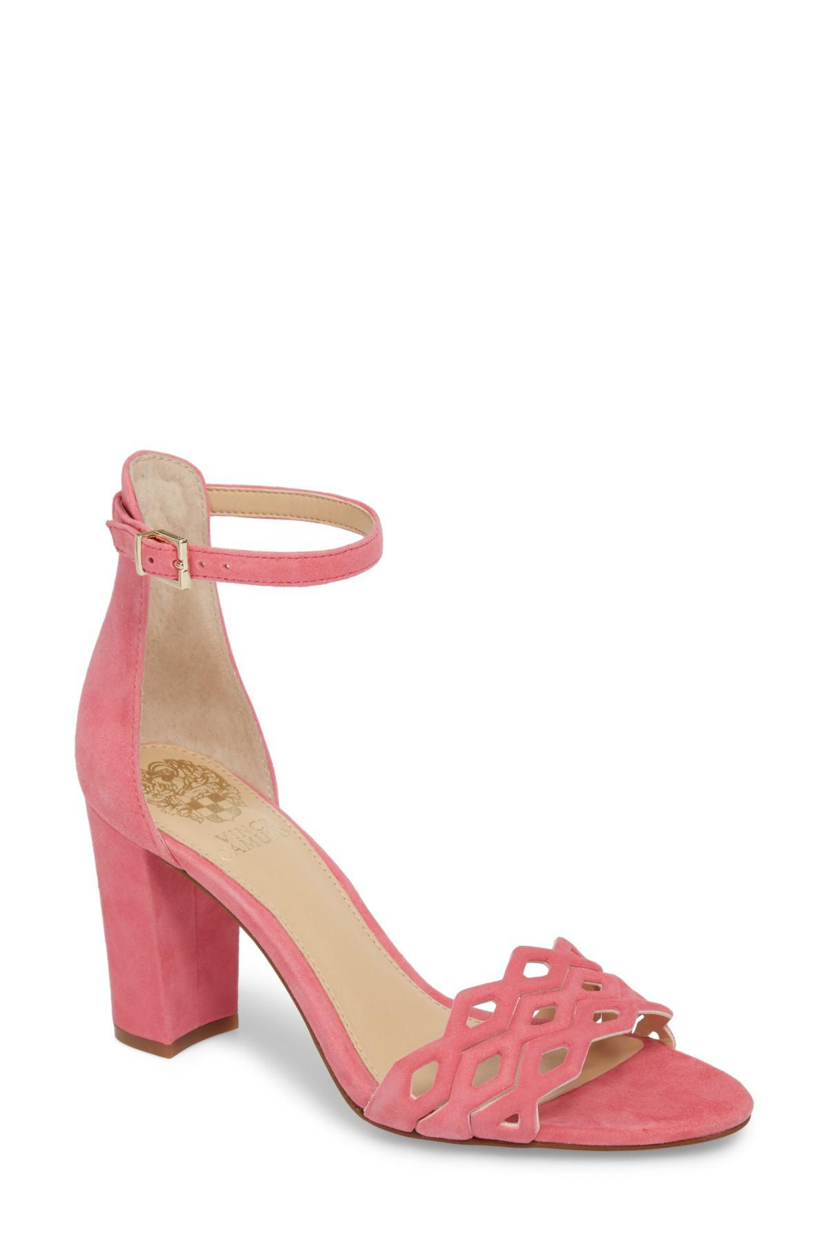 db8a261471e Lyst - Vince Camuto Caveena Block Heel Sandal (women) in Pink - Save 27%