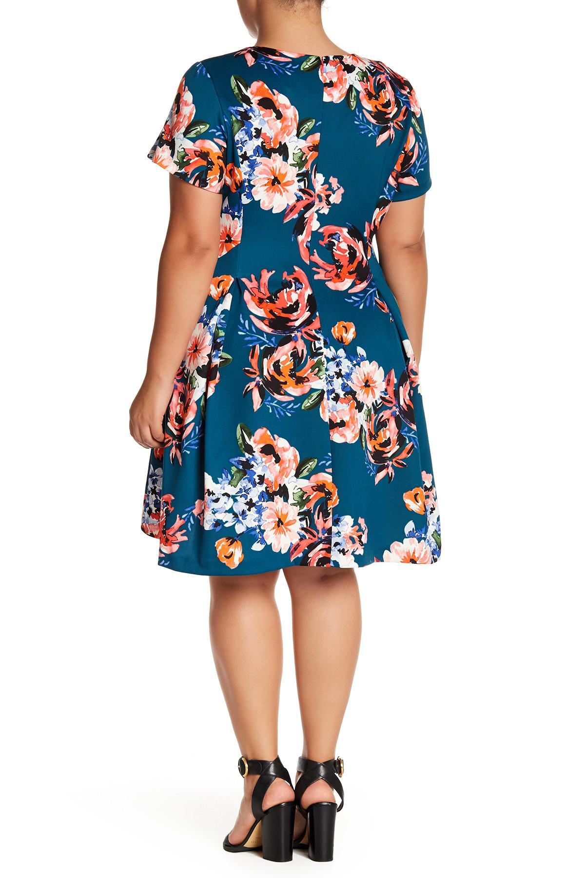d0fd4bca5ee Vince Camuto - Blue Floral Print Fit   Flare Dress (plus Size) - Lyst. View  fullscreen