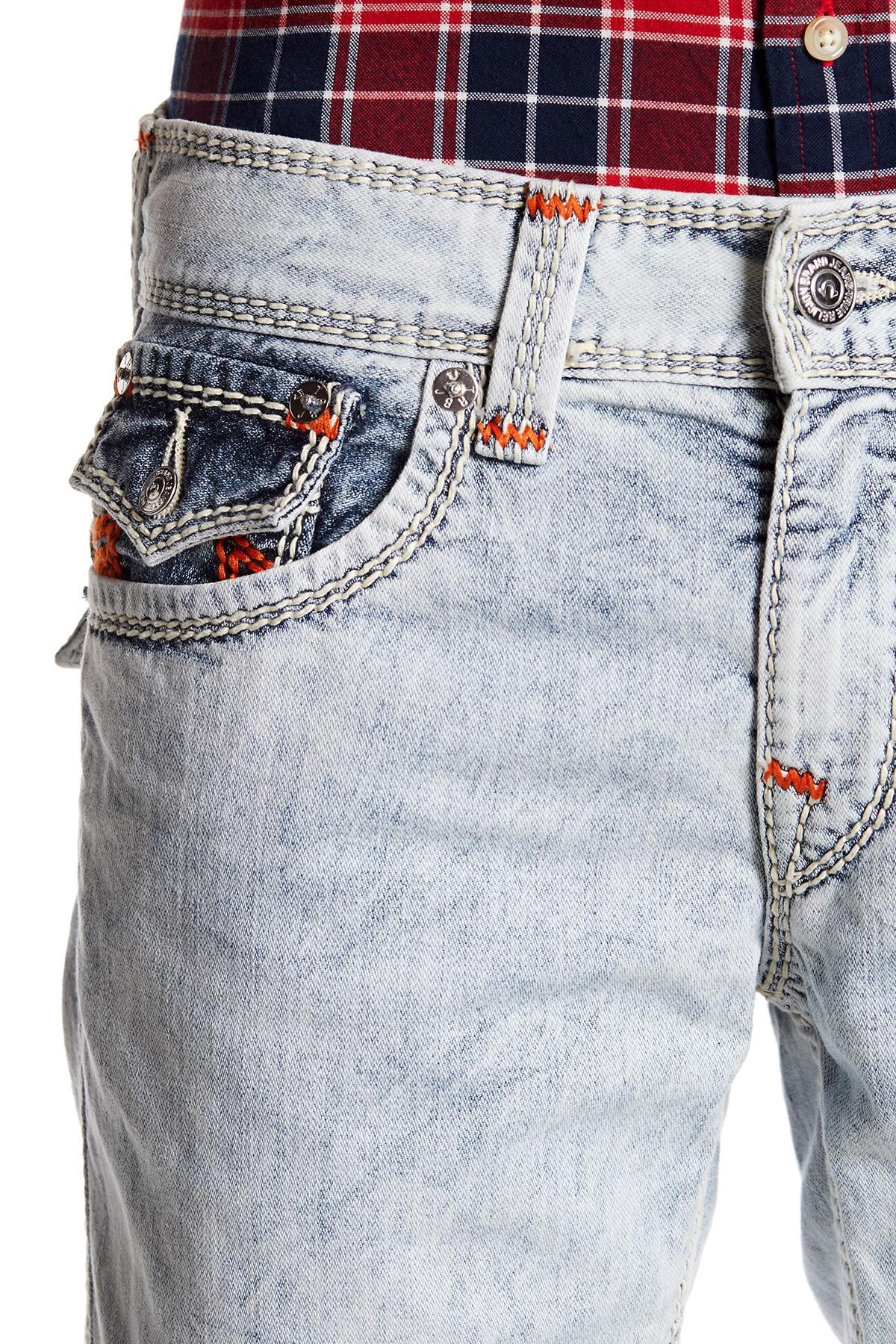 True Religion Mega T Straight Leg Jeans In Blue For Men