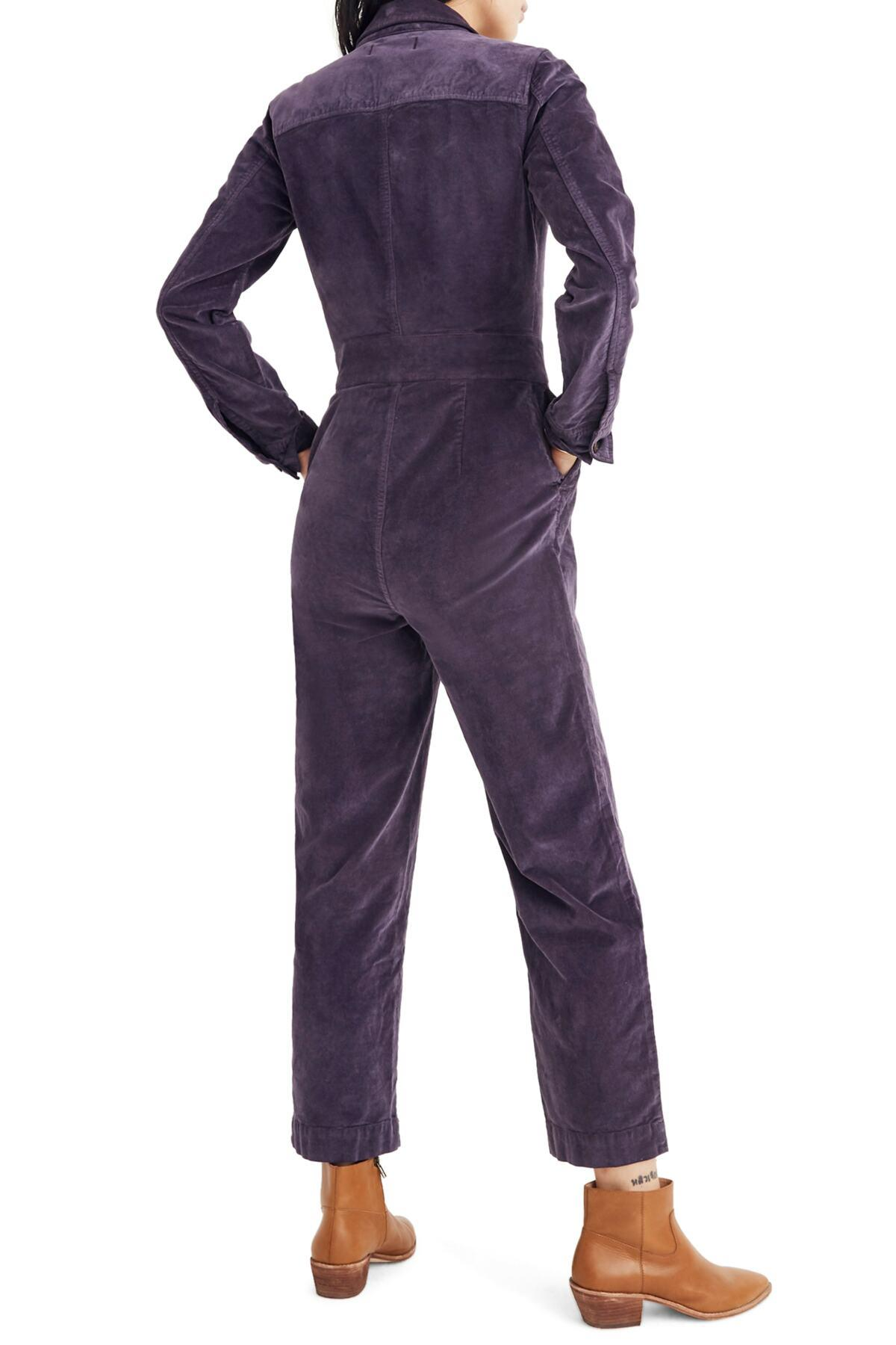 68c9c6a37632 Madewell - Purple Velveteen Slim Coverall Jumpsuit - Lyst. View fullscreen