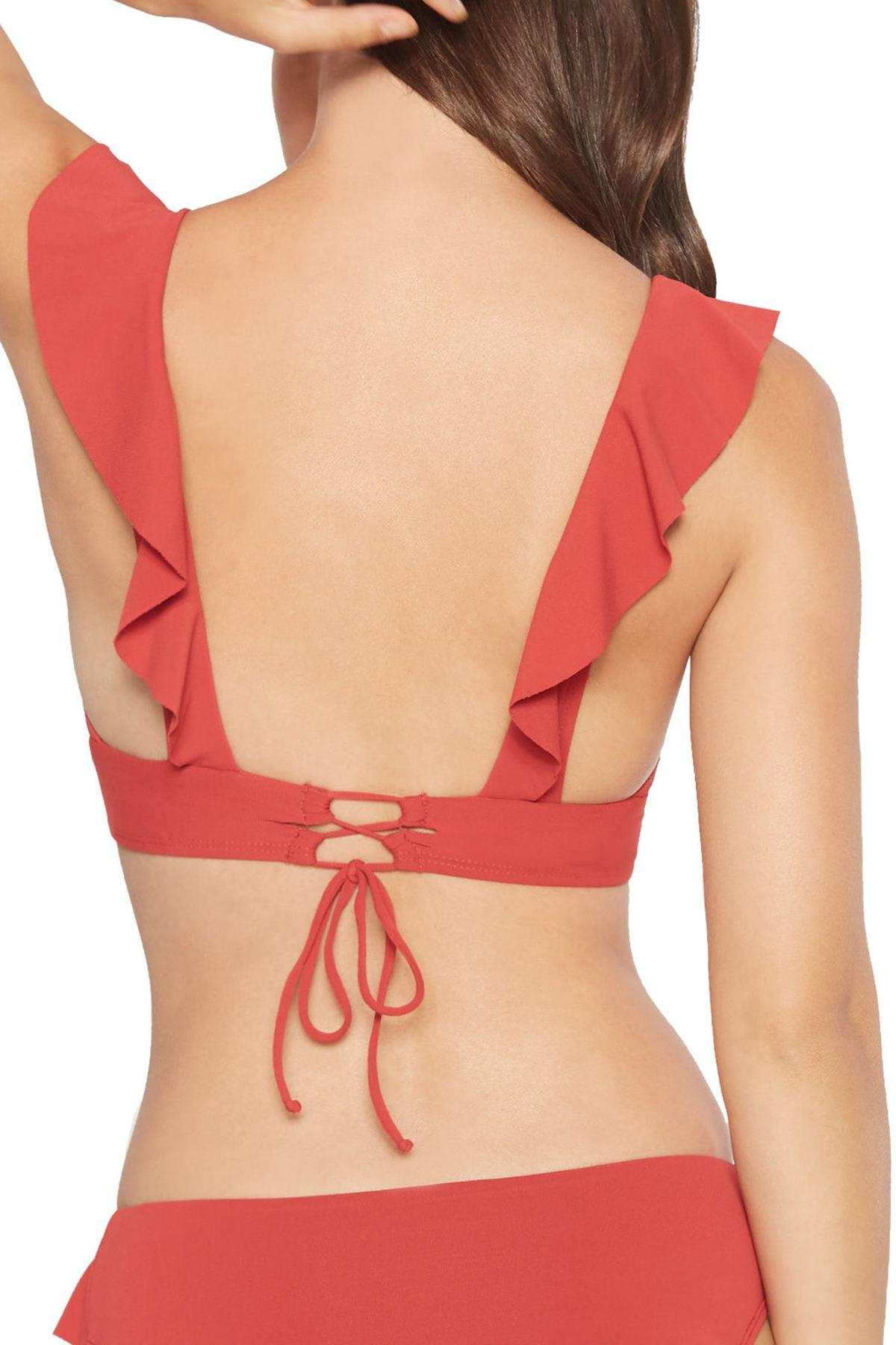 9a75a47b4e Robin Piccone Lina Ruffle Bikini Top in Red - Lyst