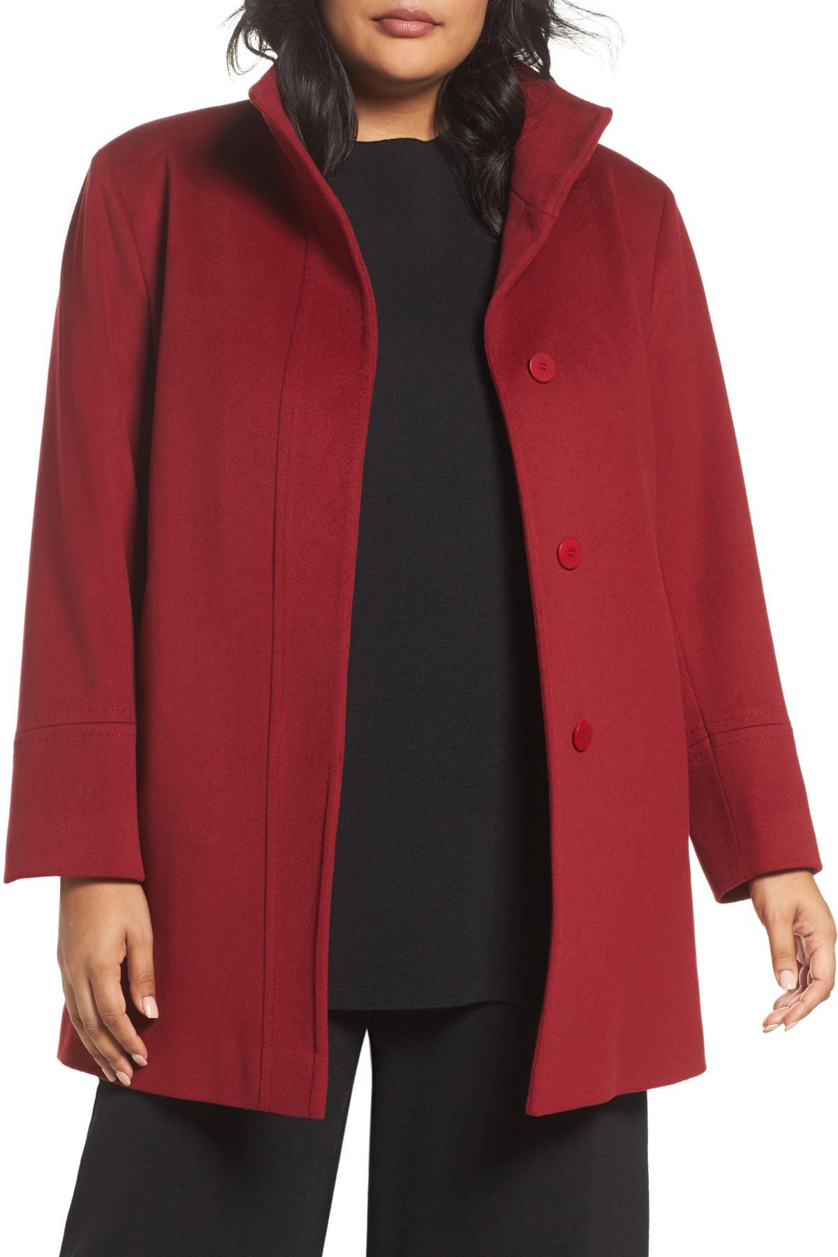cd9084e7872e8 Lyst - Fleurette Wool Car Coat (plus Size) (nordstrom Exclusive) in Red