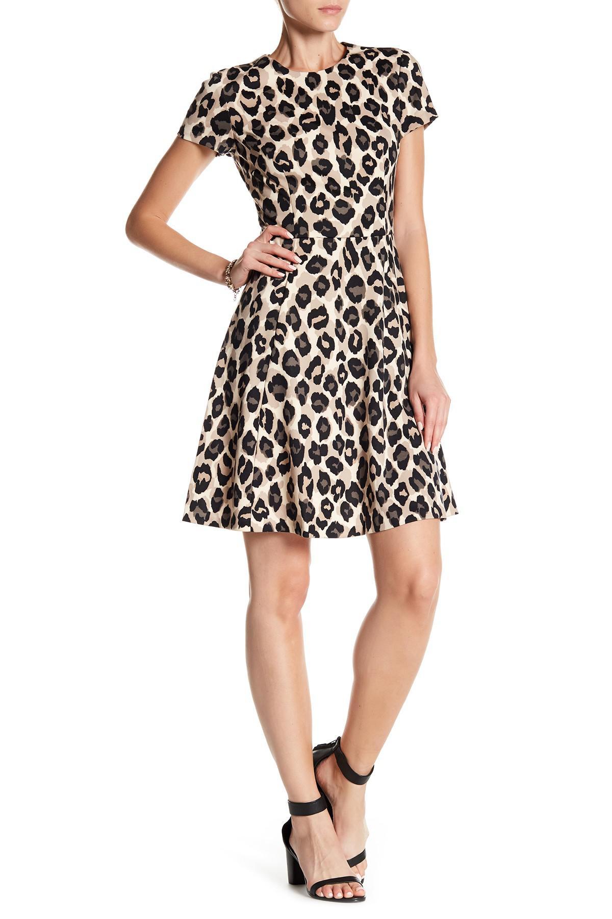 Lyst Eliza J Petite Animal Print Short Sleeve Dress In Black